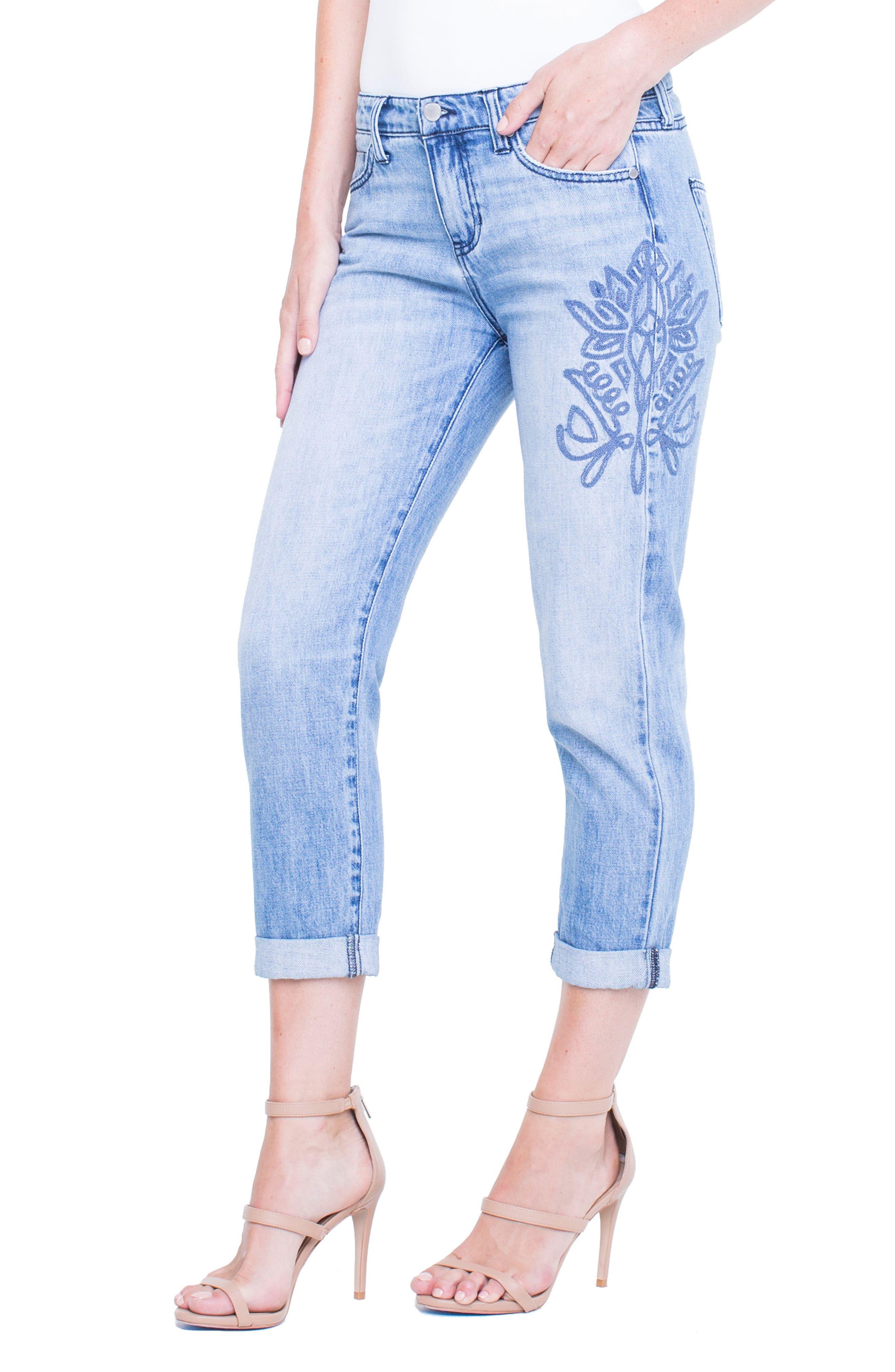 Cameron Embroidered Crop Boyfriend Jeans,                             Alternate thumbnail 5, color,                             Skyline