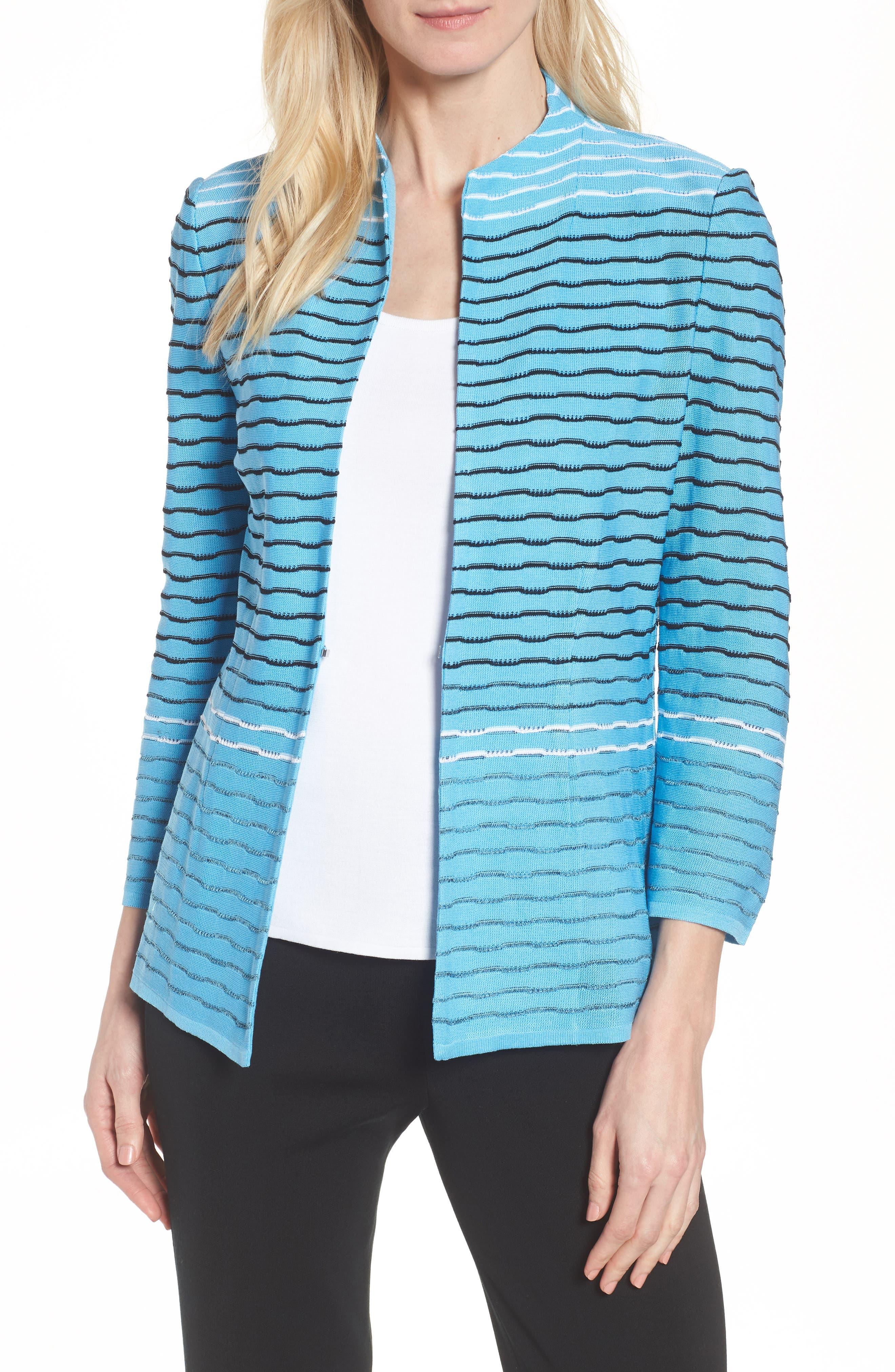 Jacquard Knit Jacket,                             Main thumbnail 1, color,                             Bluebonnet/ Black/ White