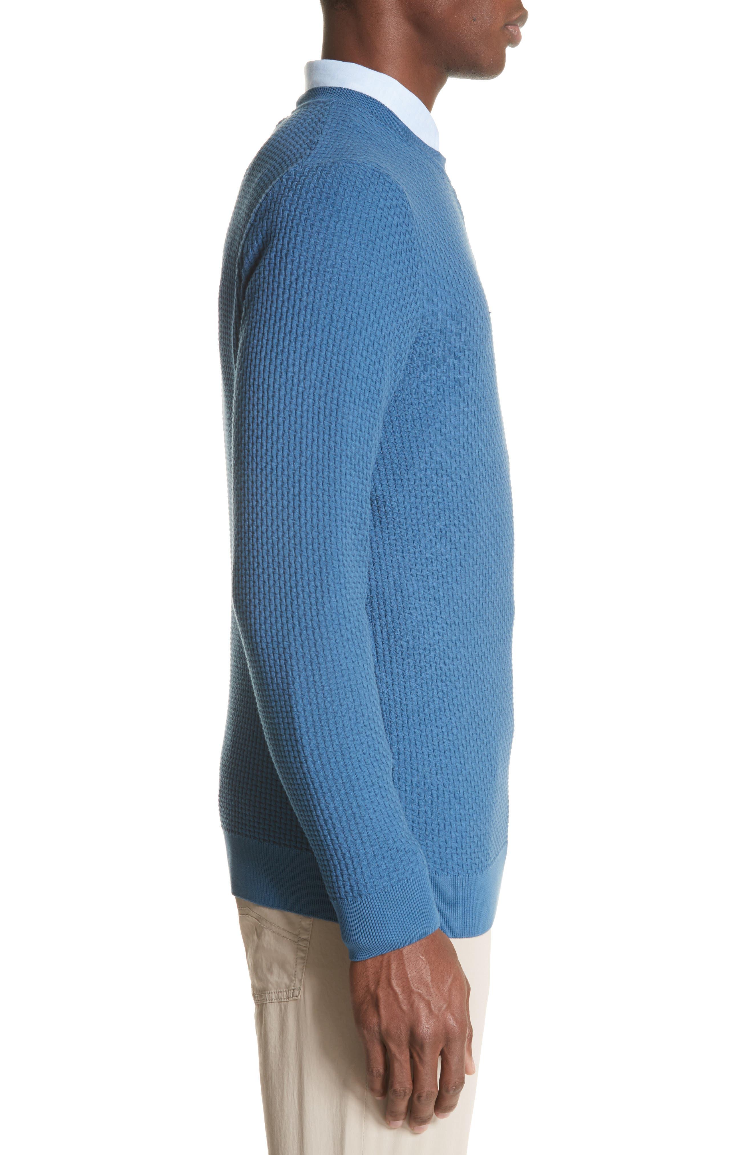 Slim Fit Textured Crew Sweater,                             Alternate thumbnail 3, color,                             Avio Scuro