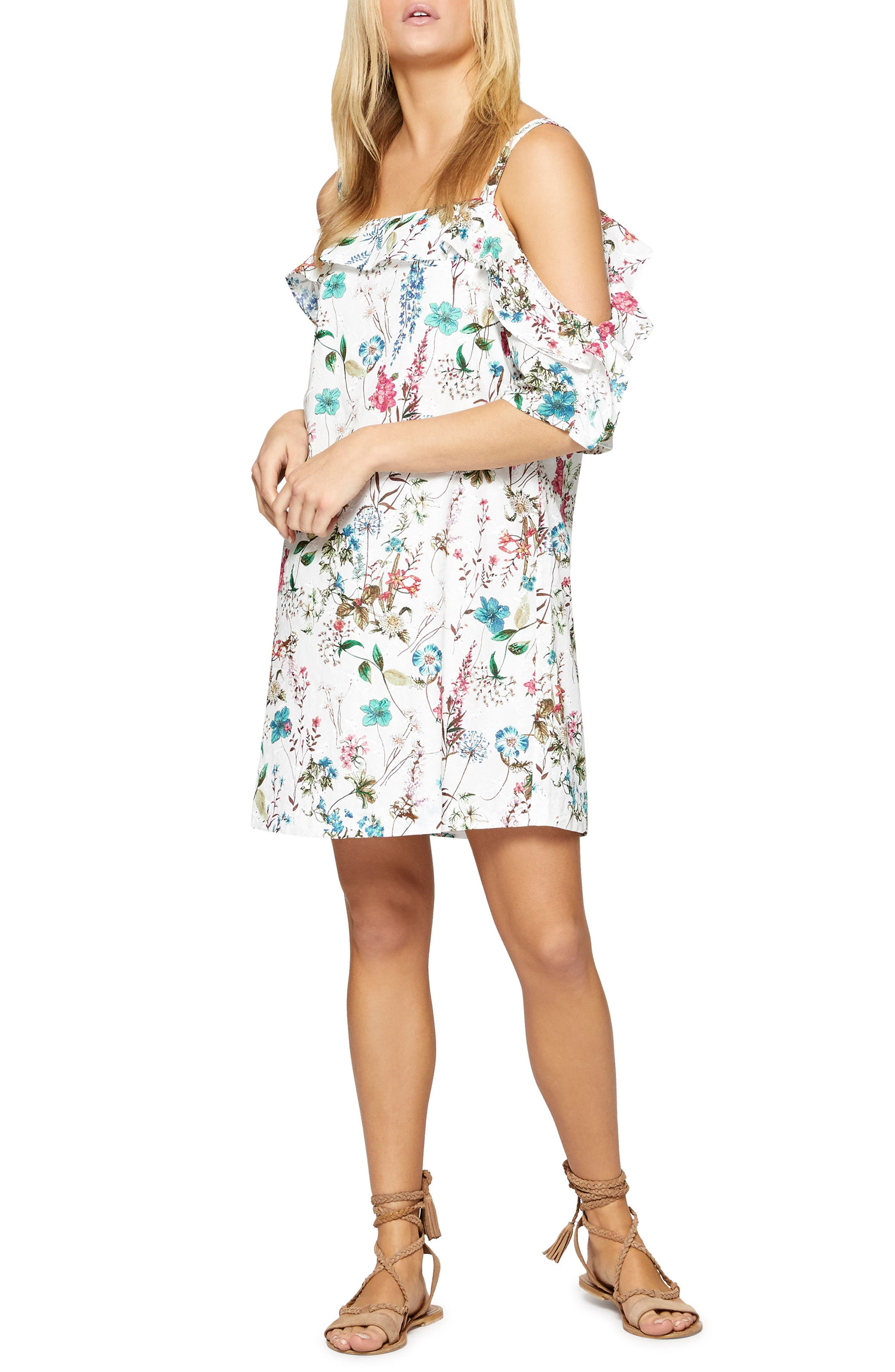 Primrose Ruffle Cold Shoulder Dress,                             Main thumbnail 1, color,                             Cheerful Nature