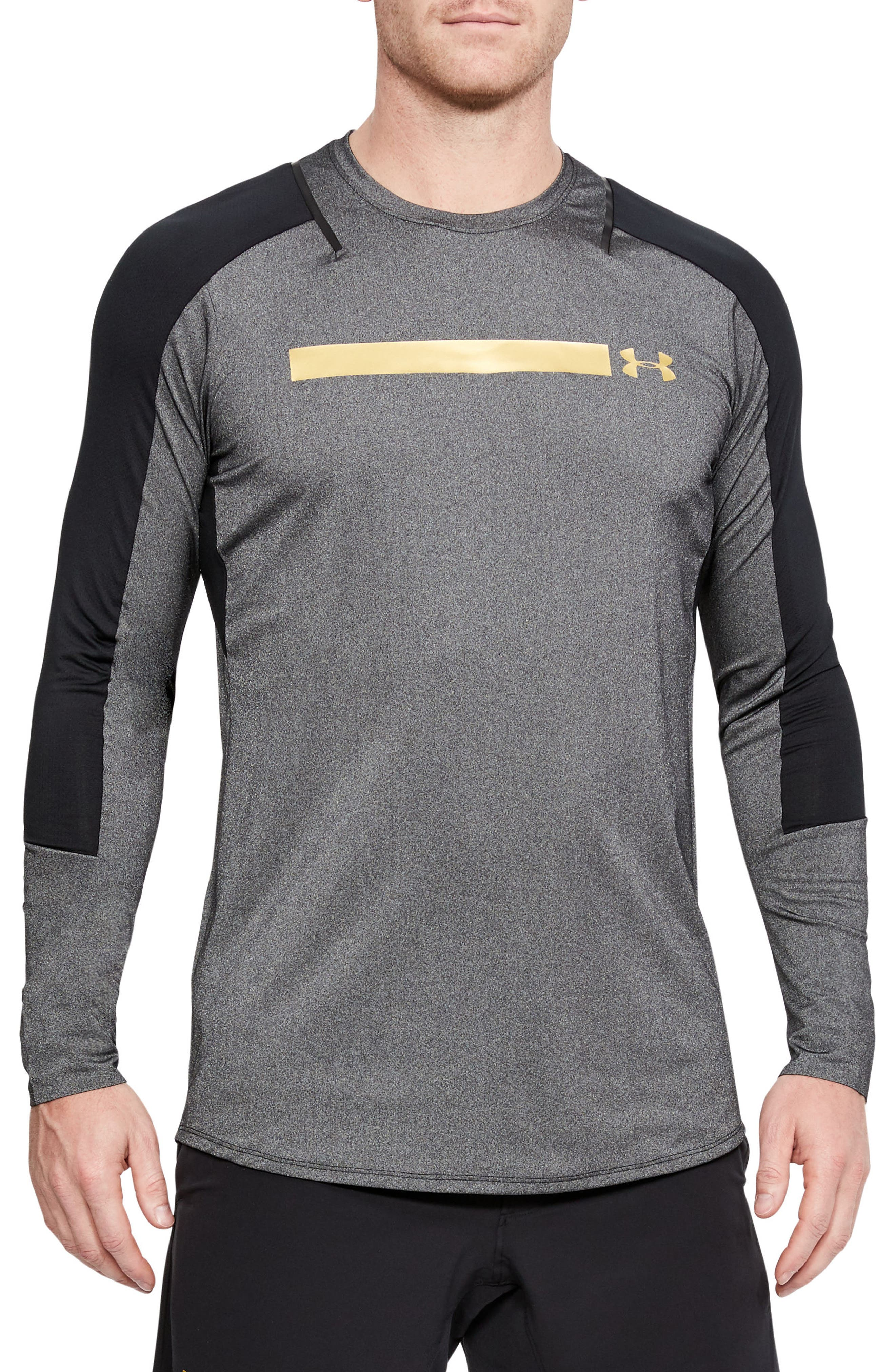 Perpetual Fitted Long-Sleeve Shirt,                         Main,                         color, Black/ Metallic Victory Gold