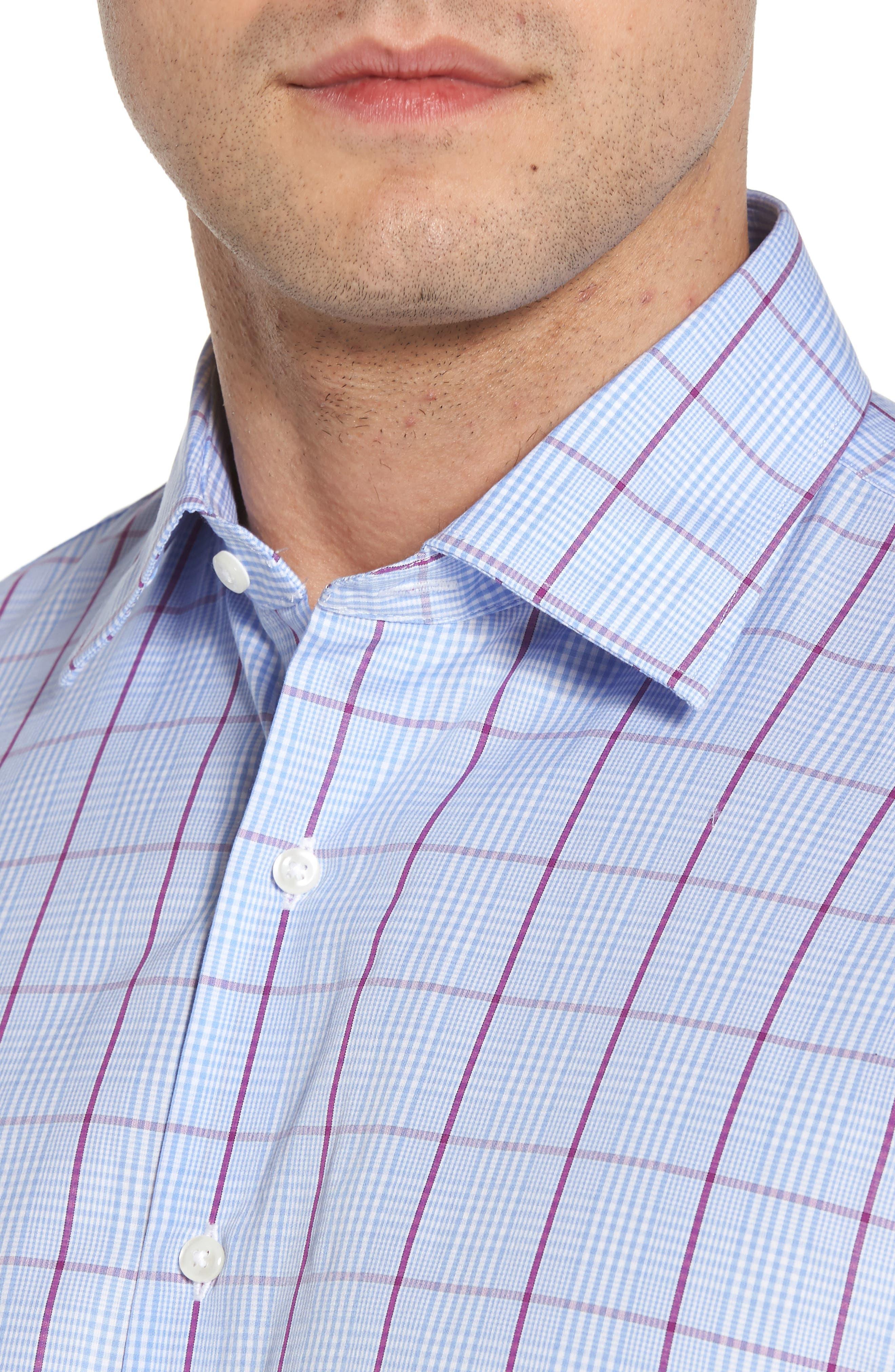 Traditional Fit Plaid Dress Shirt,                             Alternate thumbnail 2, color,                             Purple Sparkle