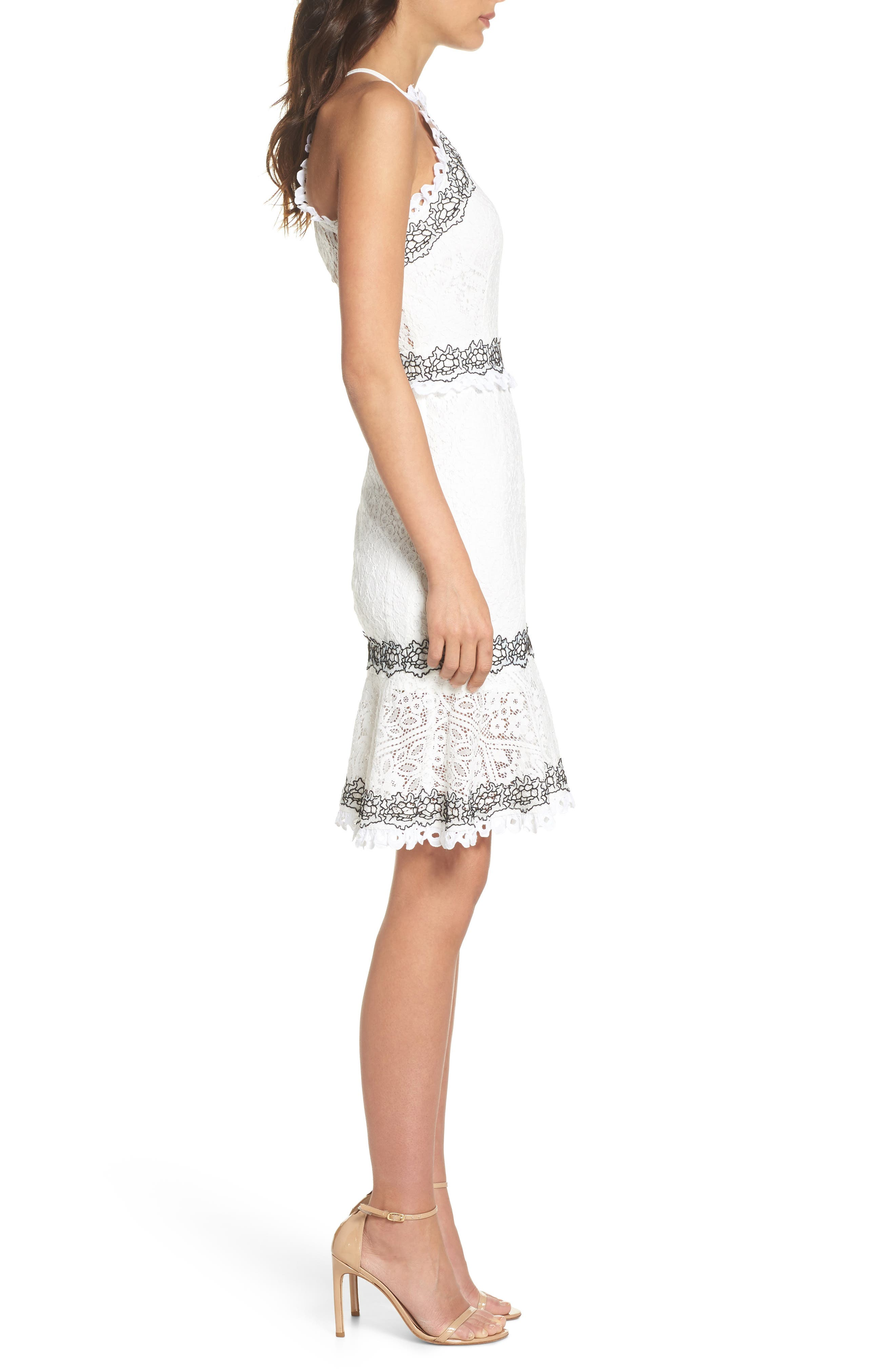 Frances Embroidered Lace Halter Dress,                             Alternate thumbnail 3, color,                             Offwhite