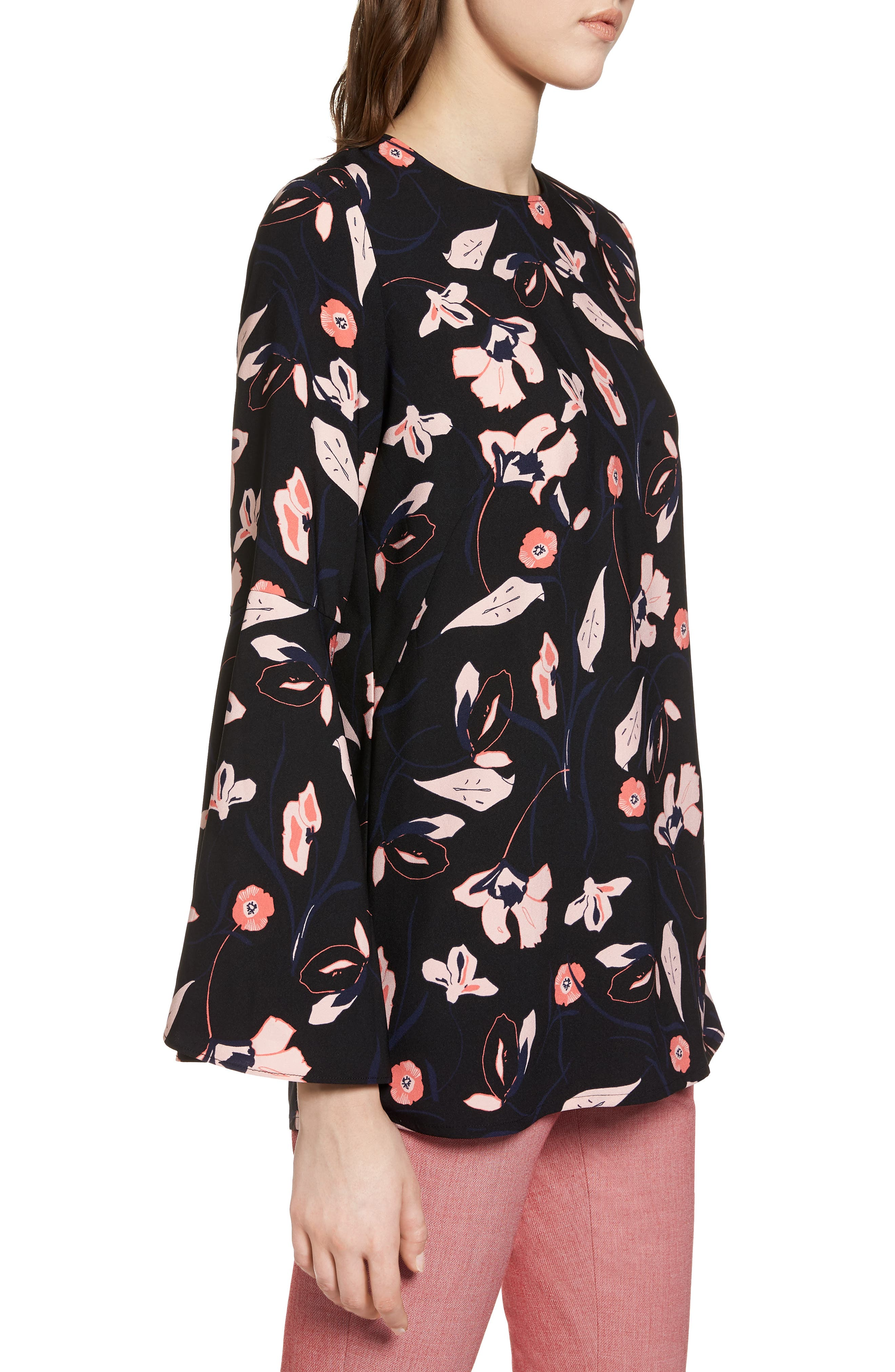 Bow Back Print Flare Sleeve Tunic,                             Alternate thumbnail 3, color,                             Black- Pink Floral