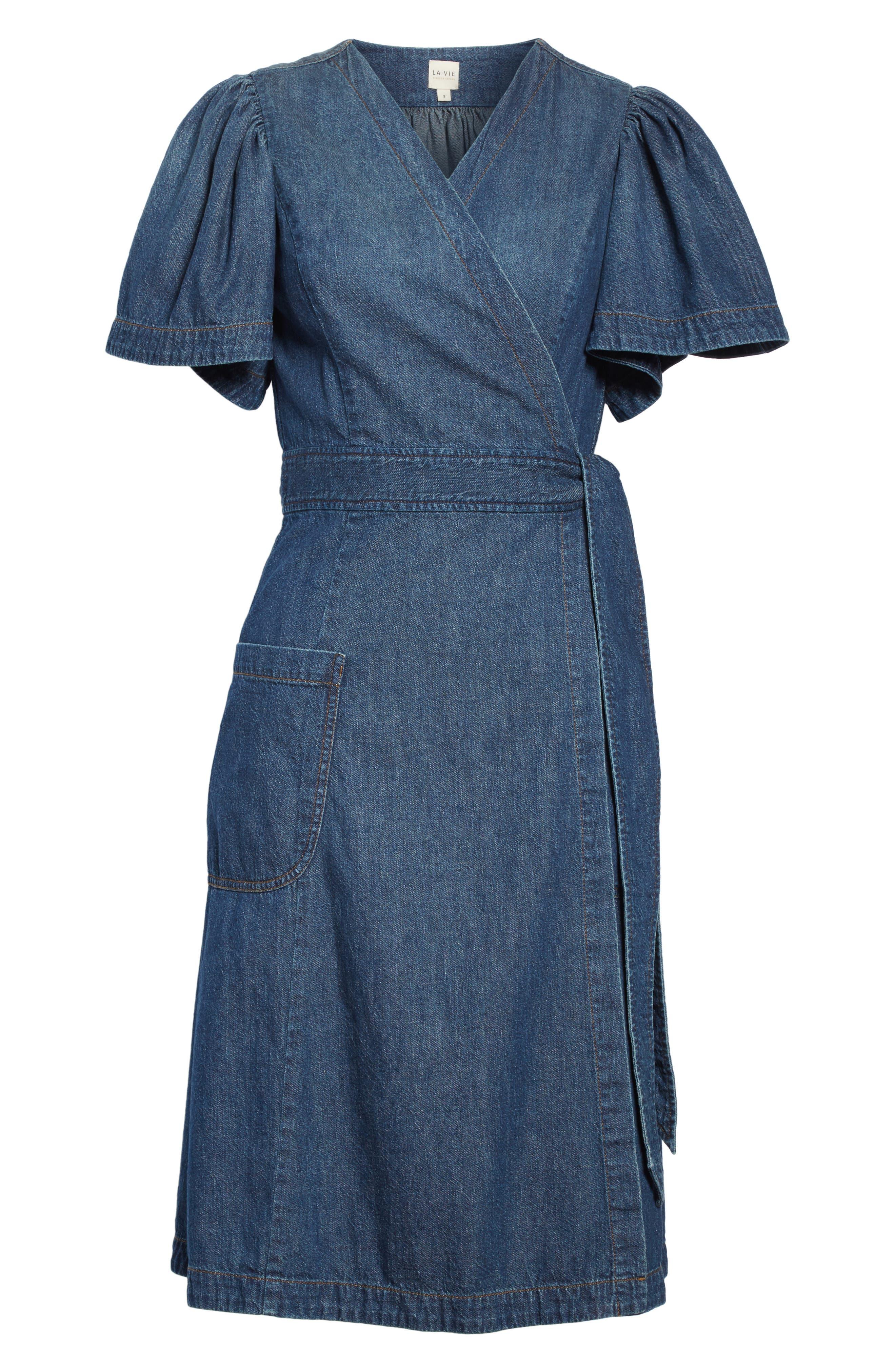 Denim Wrap Dress,                             Alternate thumbnail 6, color,                             Avignon Wash