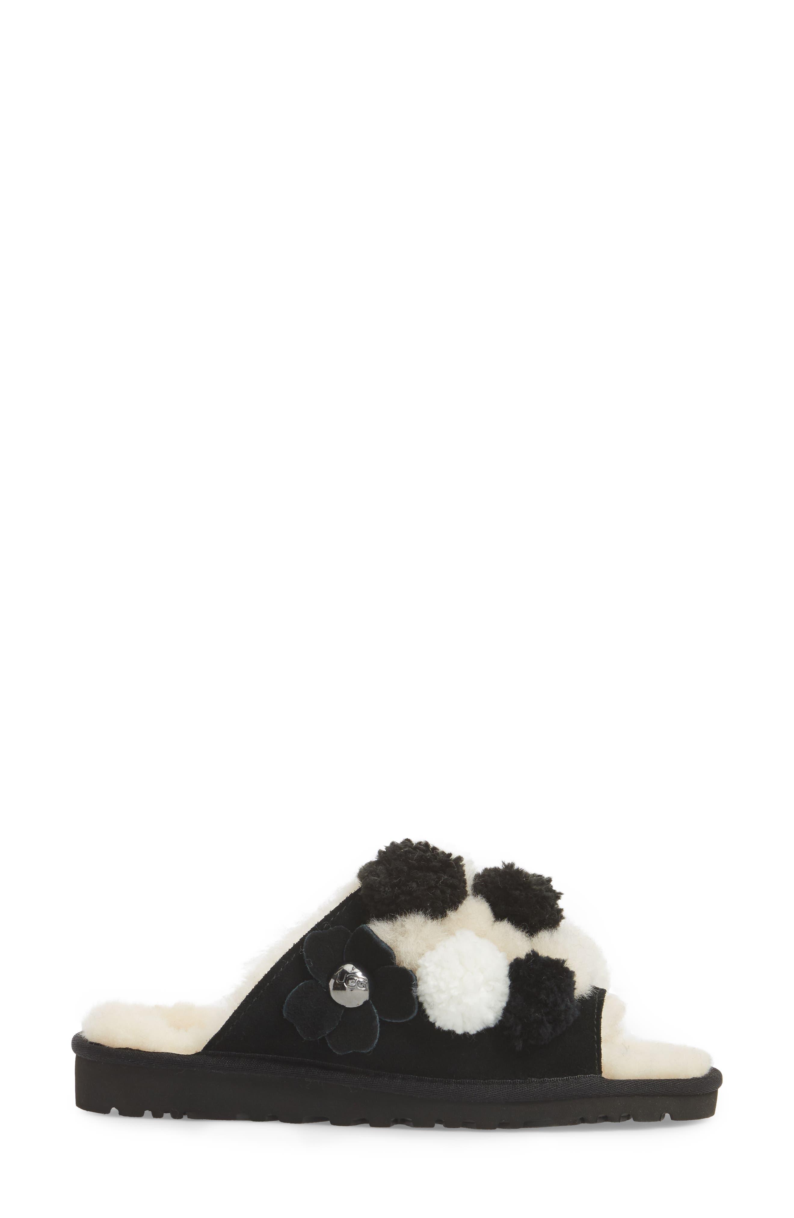 Clio Pom Pom Slide Sandal,                             Alternate thumbnail 3, color,                             Black Suede