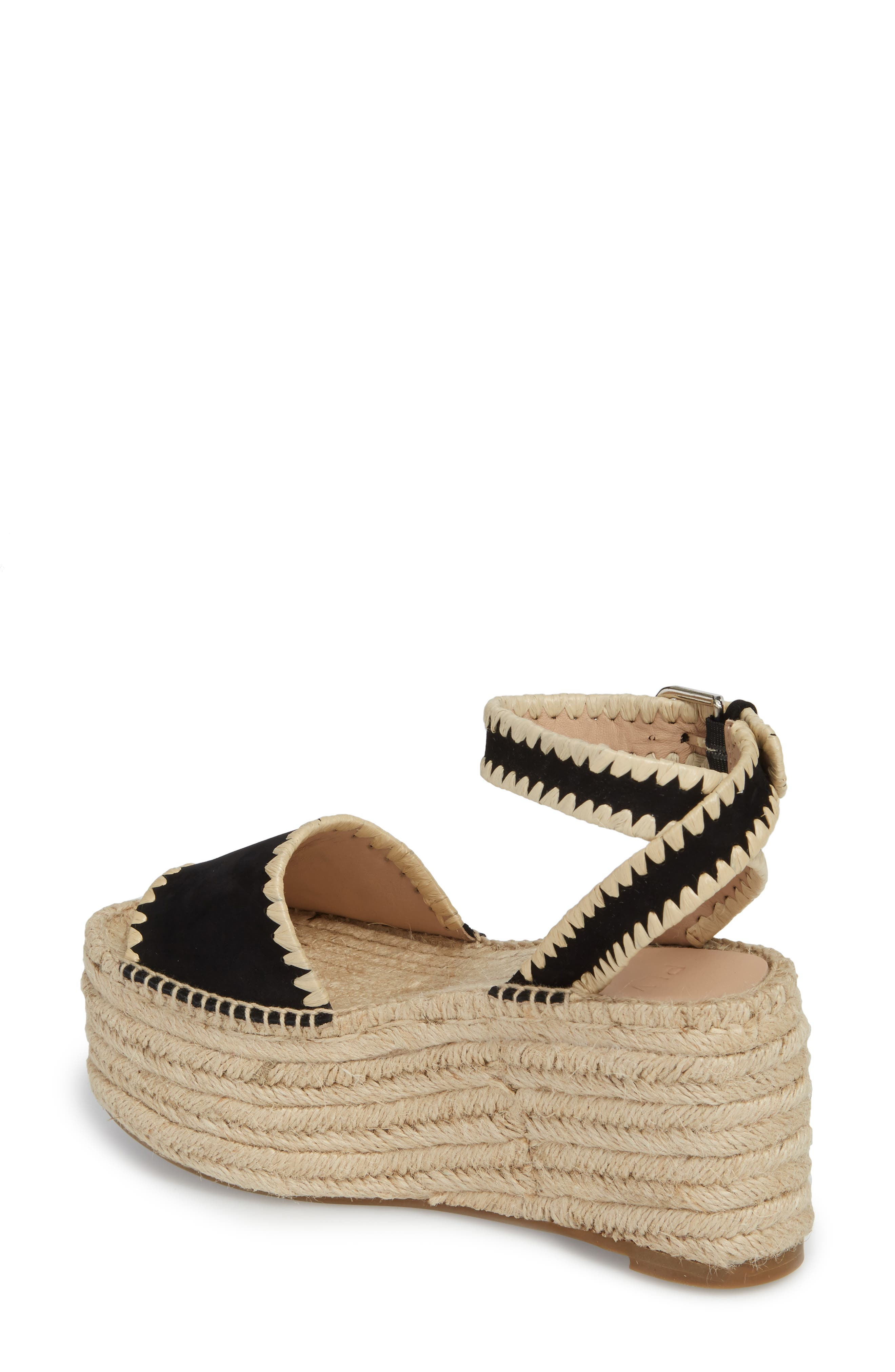 Ria Espadrille Platform Sandal,                             Alternate thumbnail 2, color,                             Black Leather