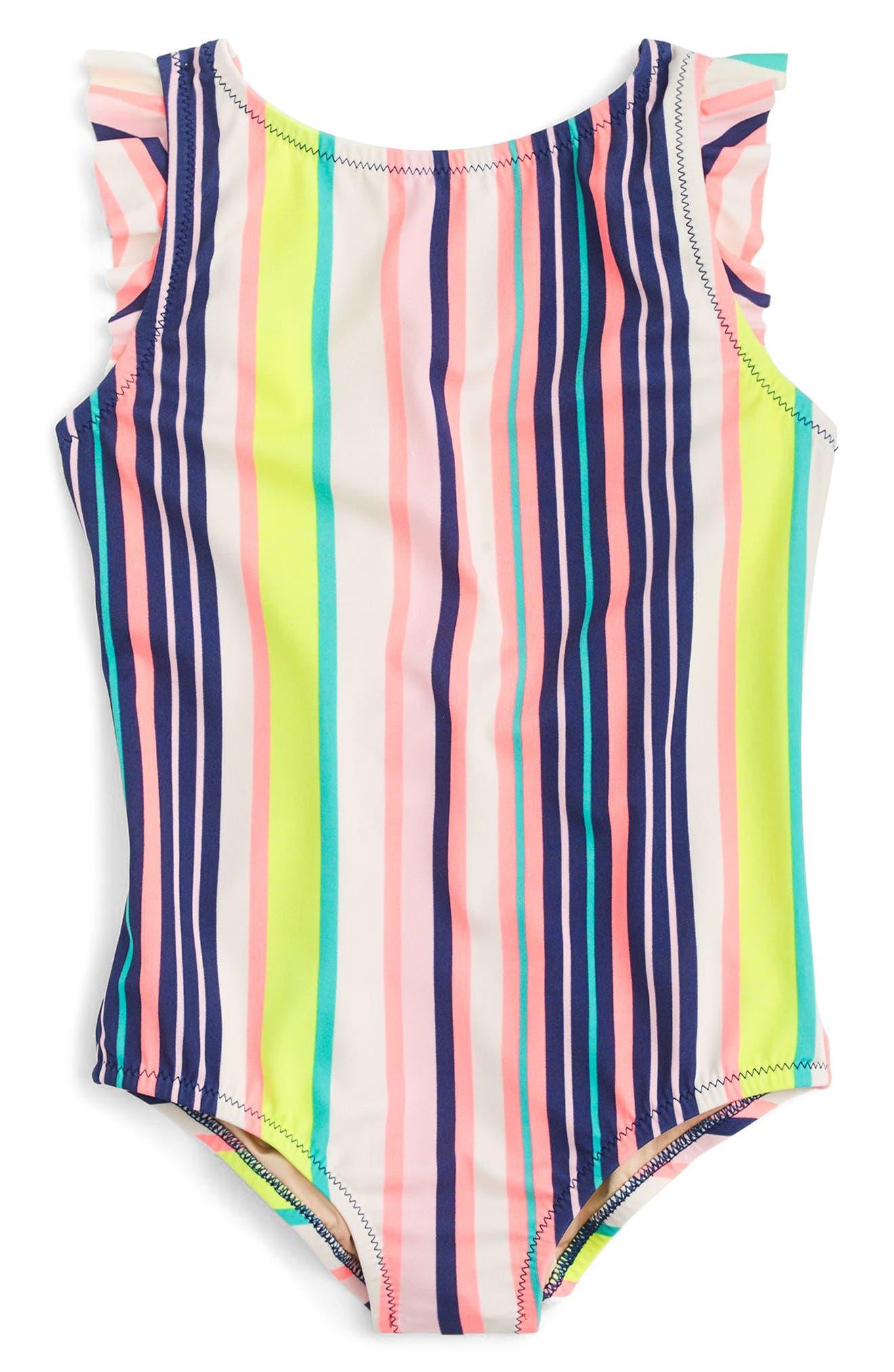 Stripe Flutter Sleeve One-Piece Swimsuit,                             Main thumbnail 1, color,                             Aqua Pink Multi
