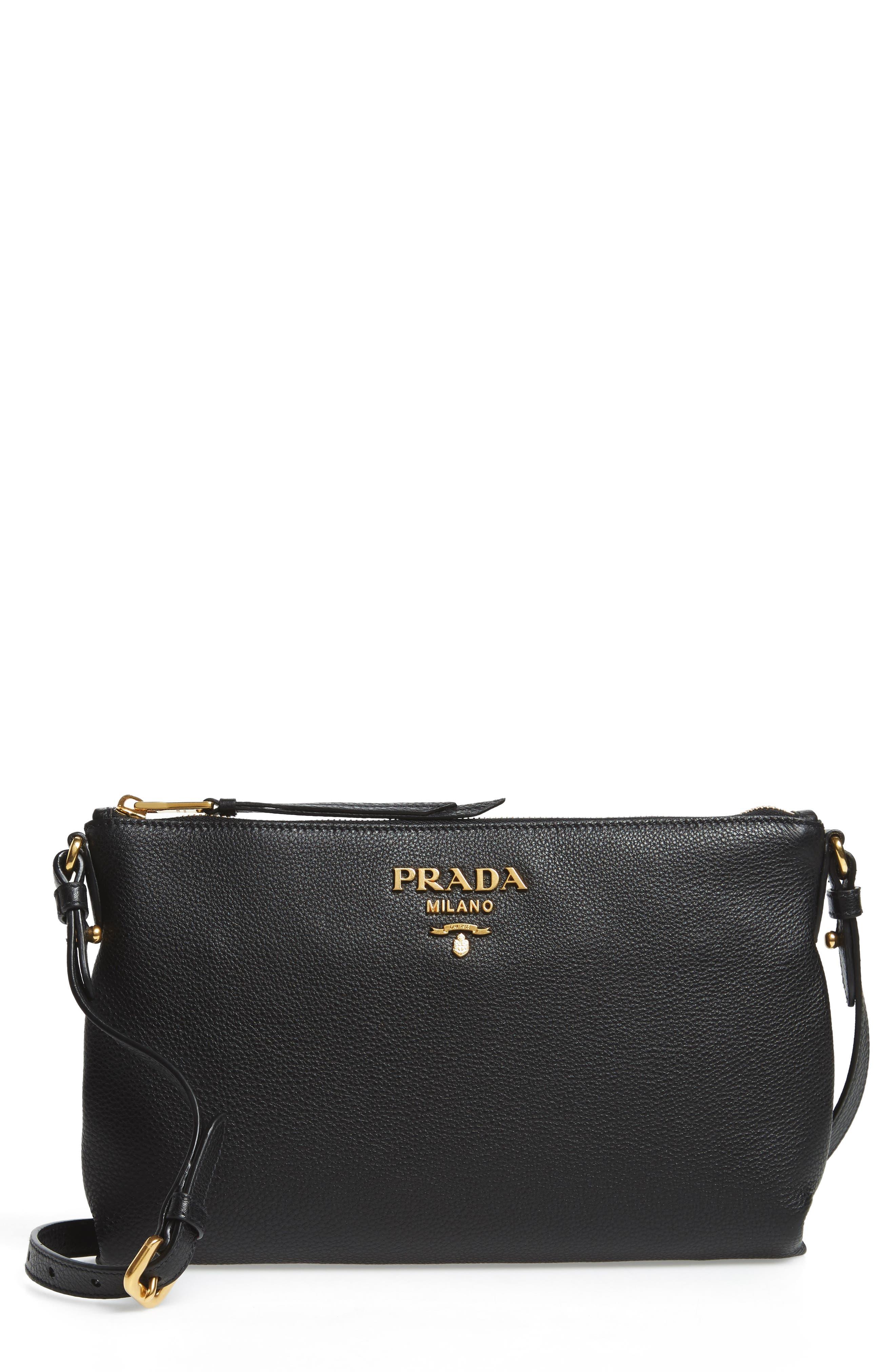 Vitello Daino Leather Crossbody Bag,                             Main thumbnail 1, color,                             Nero