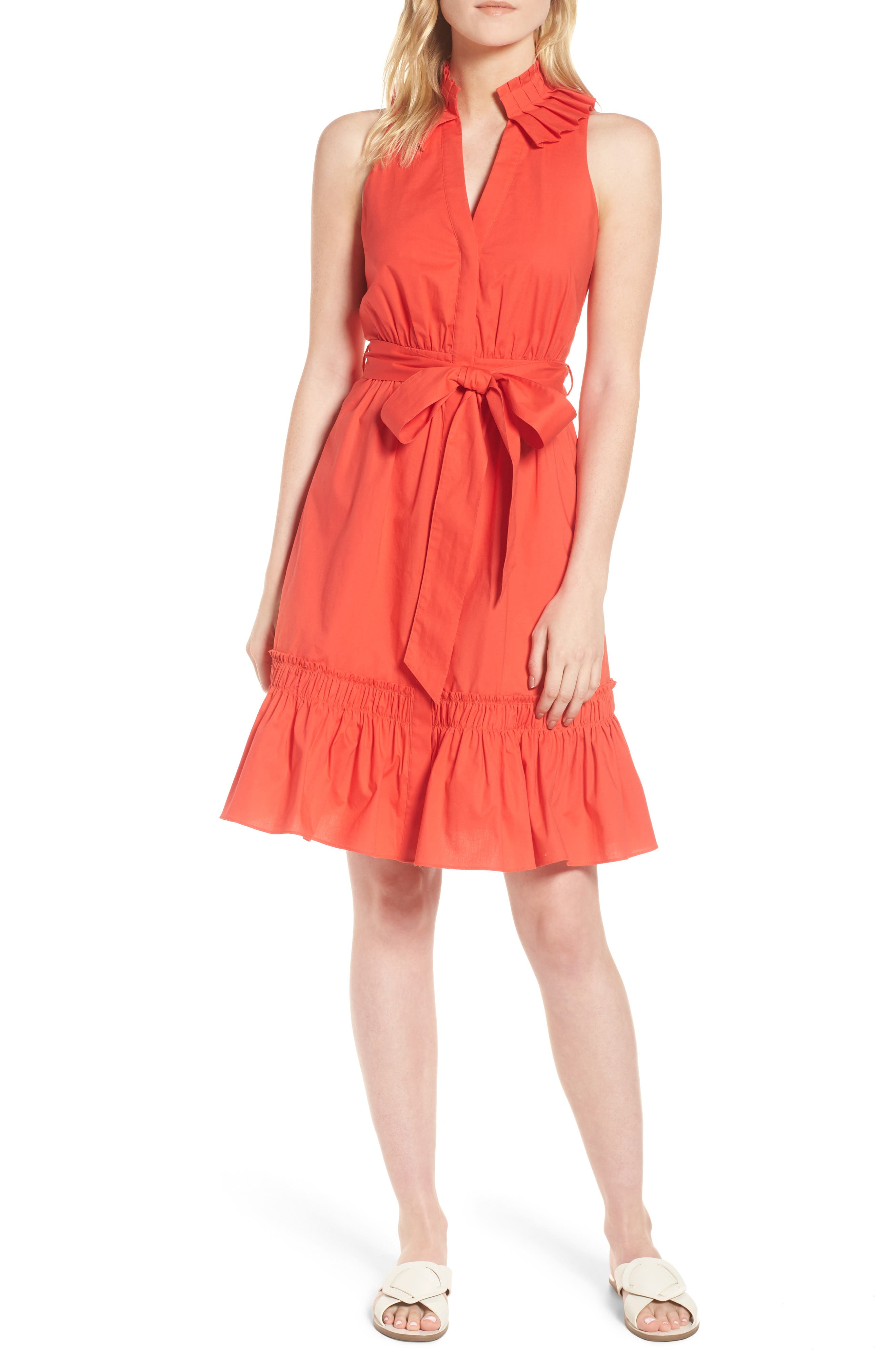 Pleat Collar Shirtdress,                         Main,                         color, Red Bloom