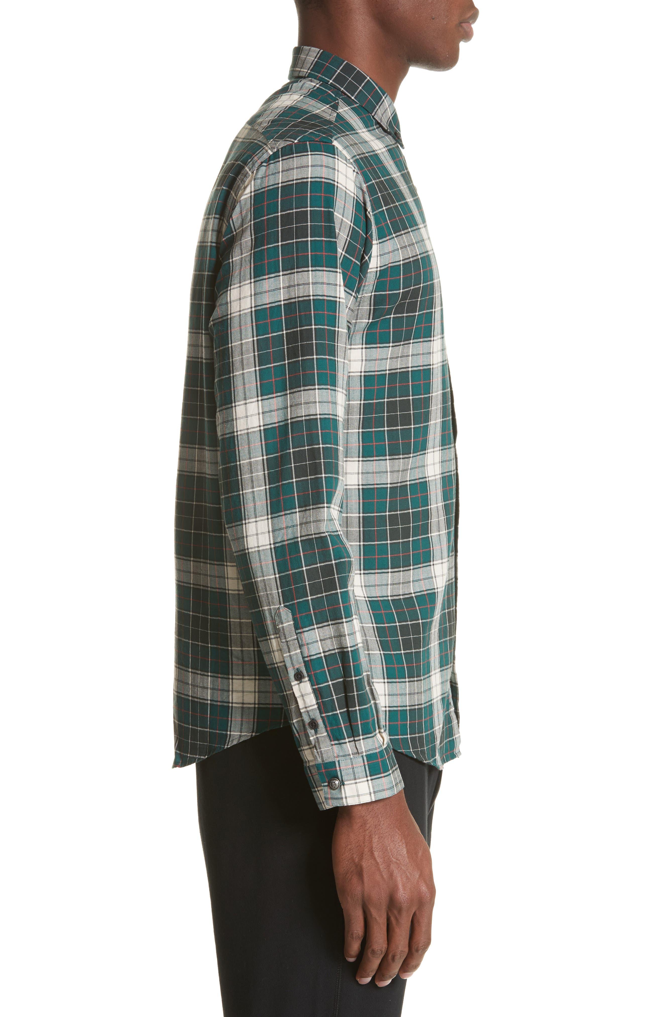 Check Woven Shirt,                             Alternate thumbnail 4, color,                             Green