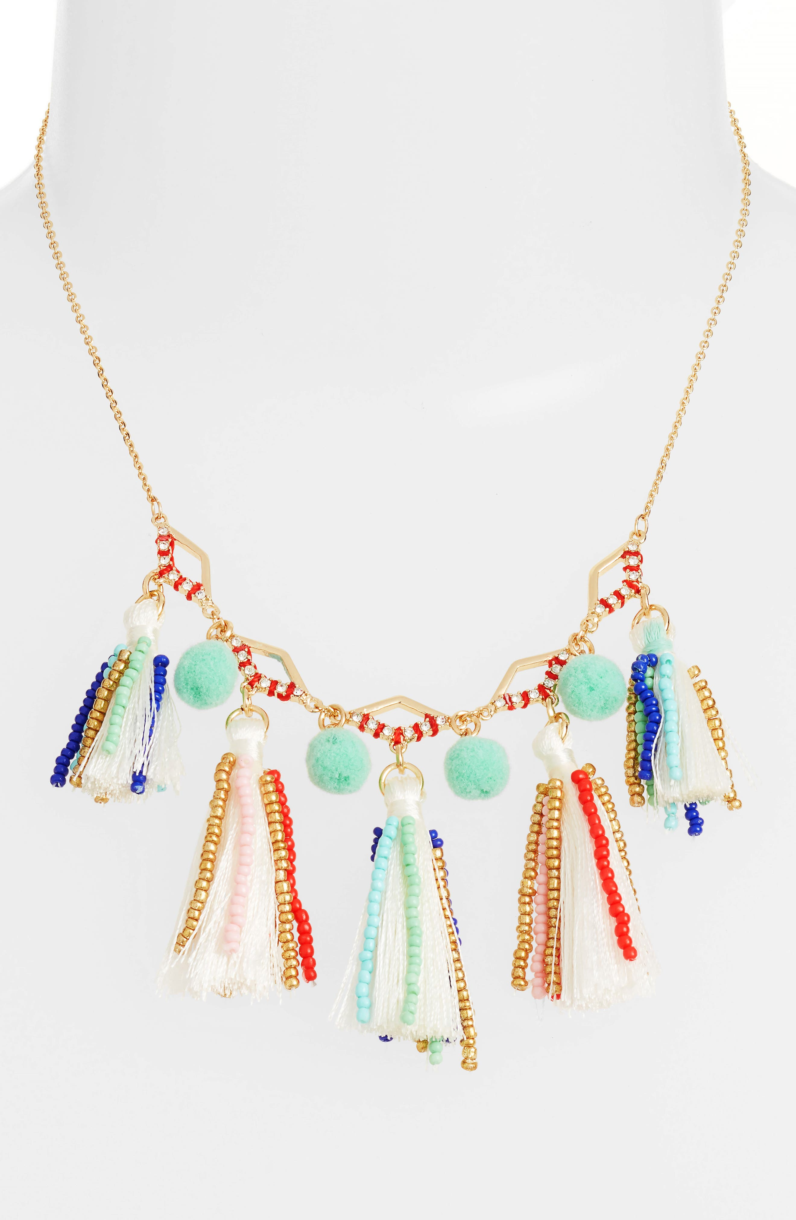 Tassel & Pompom Necklace,                             Main thumbnail 1, color,                             Multi/ Gold