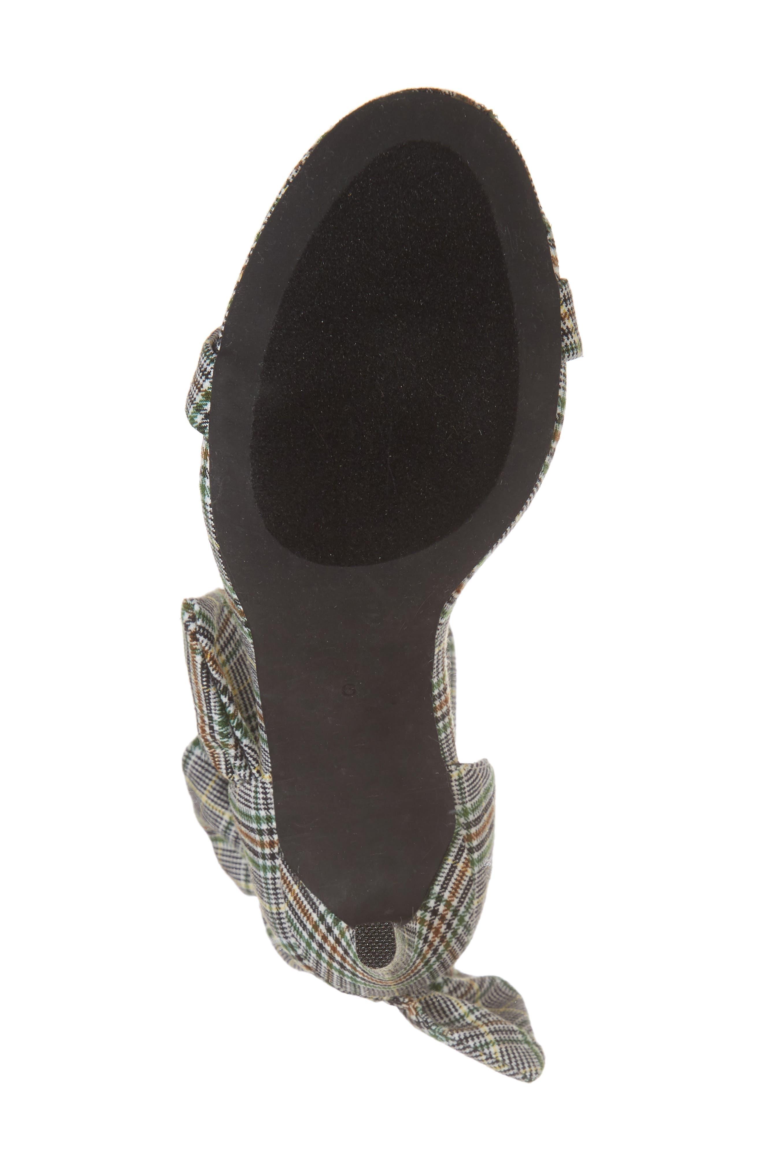 Cheshire Ruffle Sandal,                             Alternate thumbnail 5, color,                             Black/ White/ Green Fabric