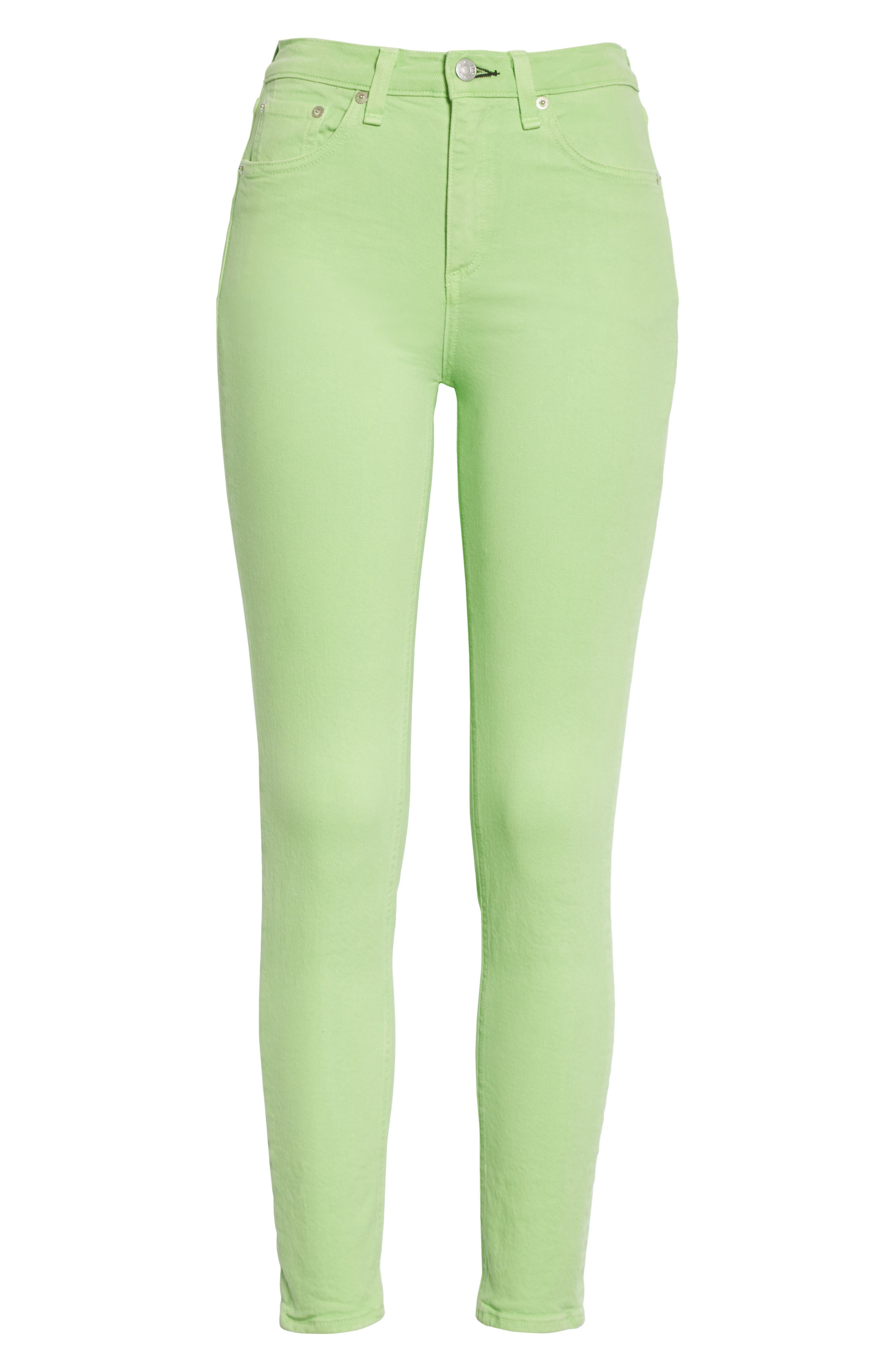 High Rise Skinny Jeans,                             Alternate thumbnail 6, color,                             Lime