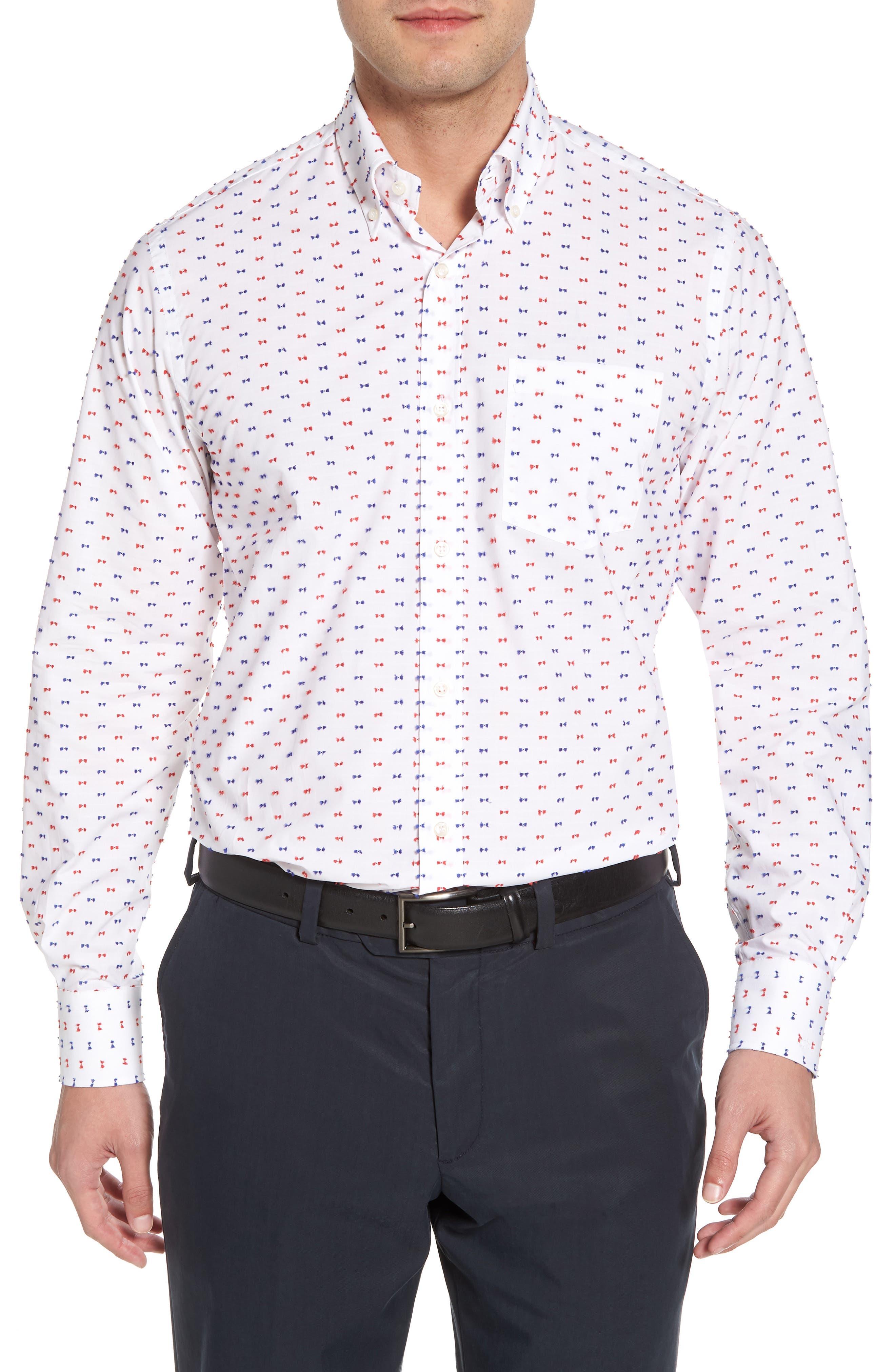 Paul&Shark Regular Fit Feathered Sport Shirt,                             Main thumbnail 1, color,                             White