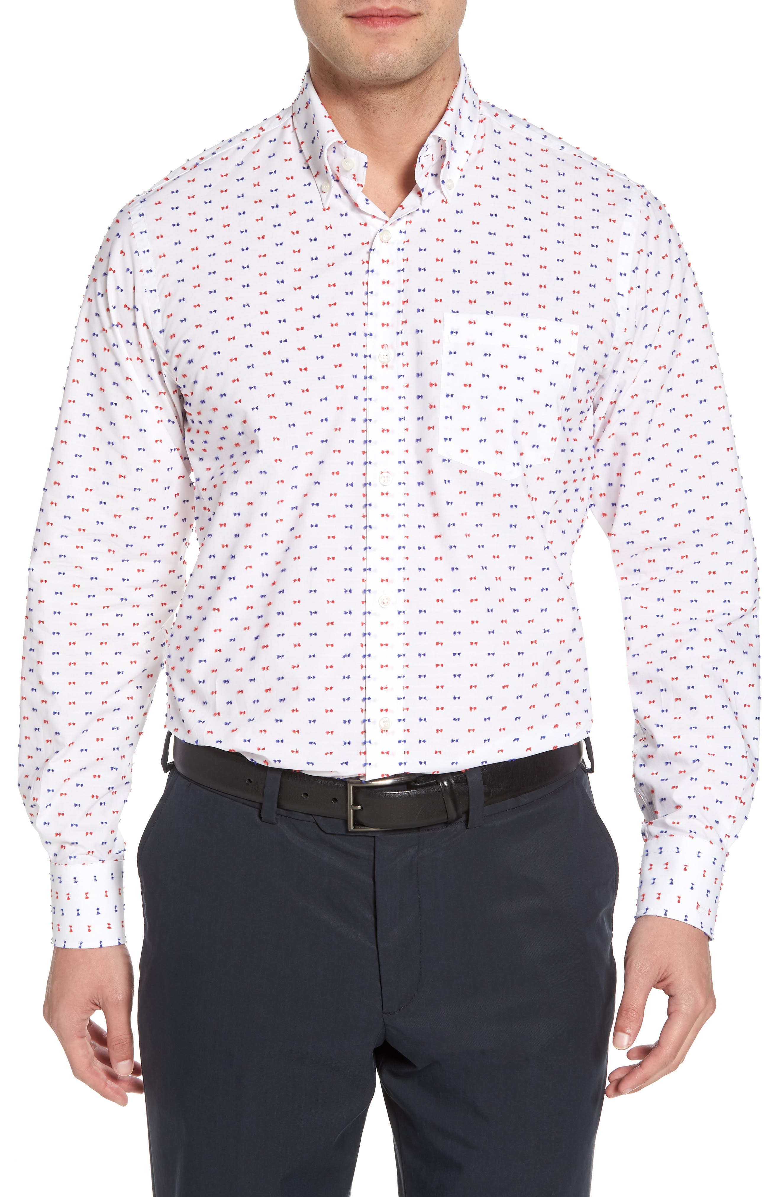 Paul&Shark Regular Fit Feathered Sport Shirt,                         Main,                         color, White