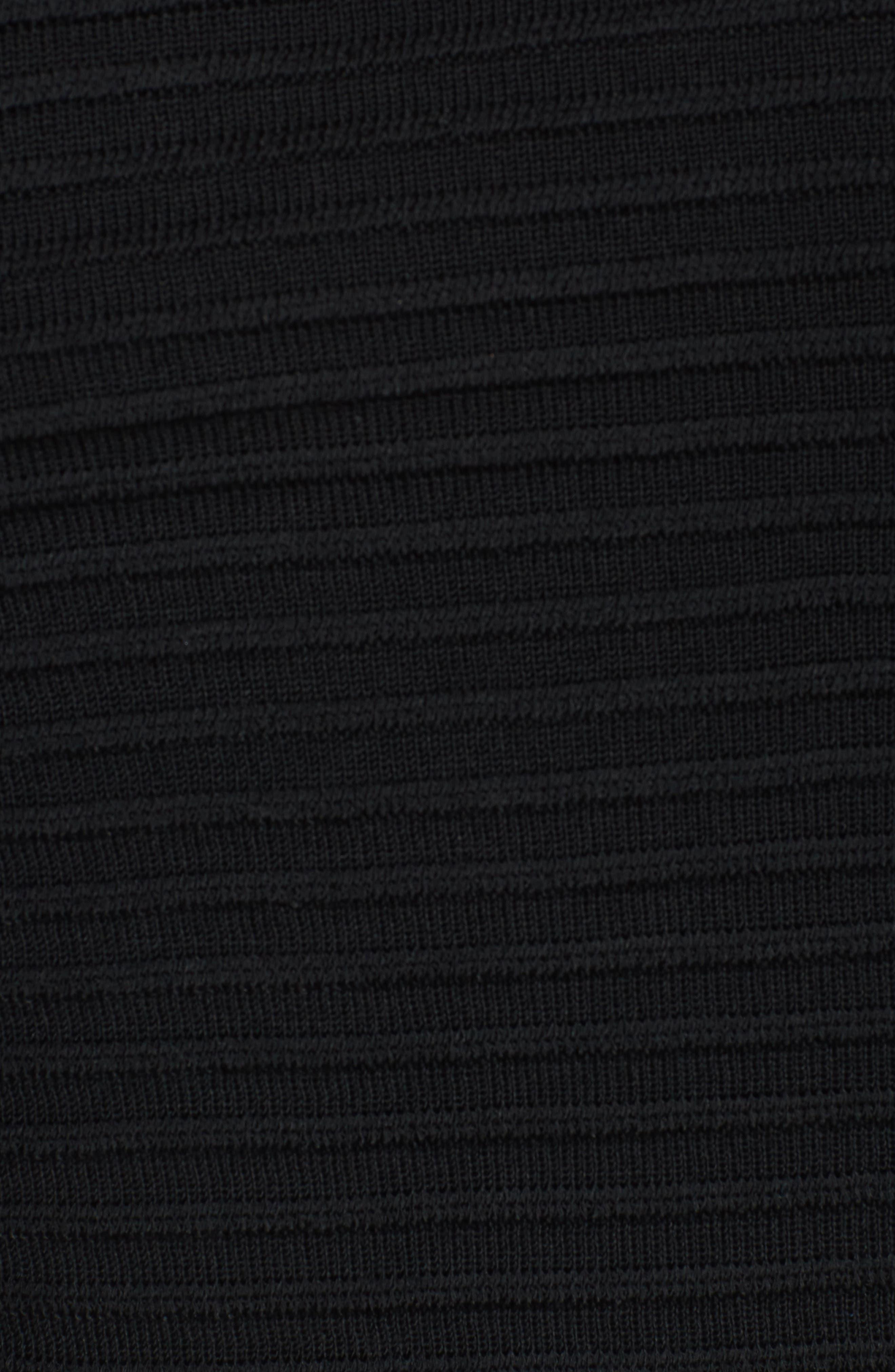 Ribbed Knit Jacket,                             Alternate thumbnail 5, color,                             Black