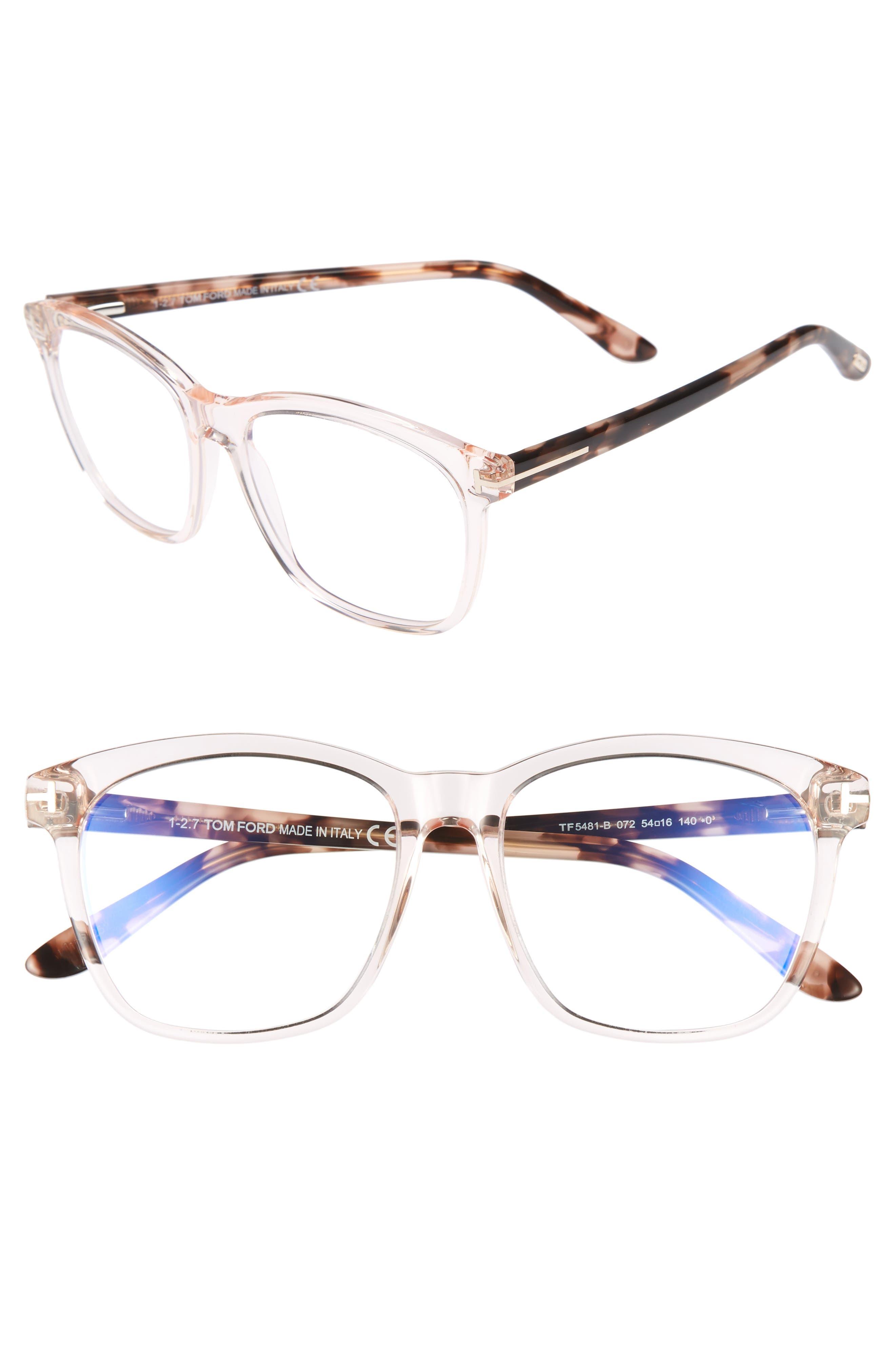 54mm Blue Block Optical Glasses,                             Main thumbnail 1, color,                             Shiny Pink/ Vintage Havana