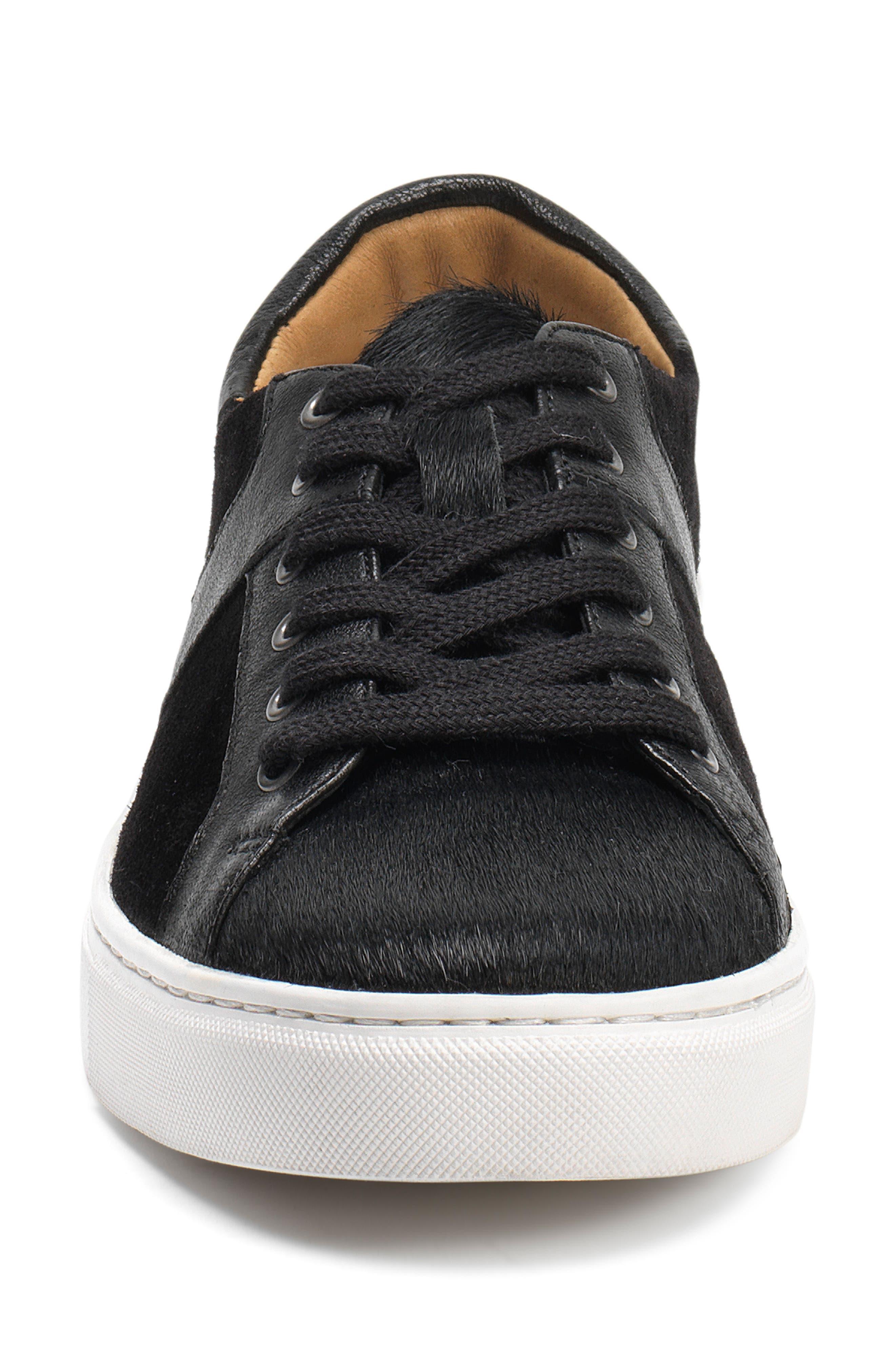 Lindsey Genuine Calf Hair Sneaker,                             Alternate thumbnail 4, color,                             Black Calfhair