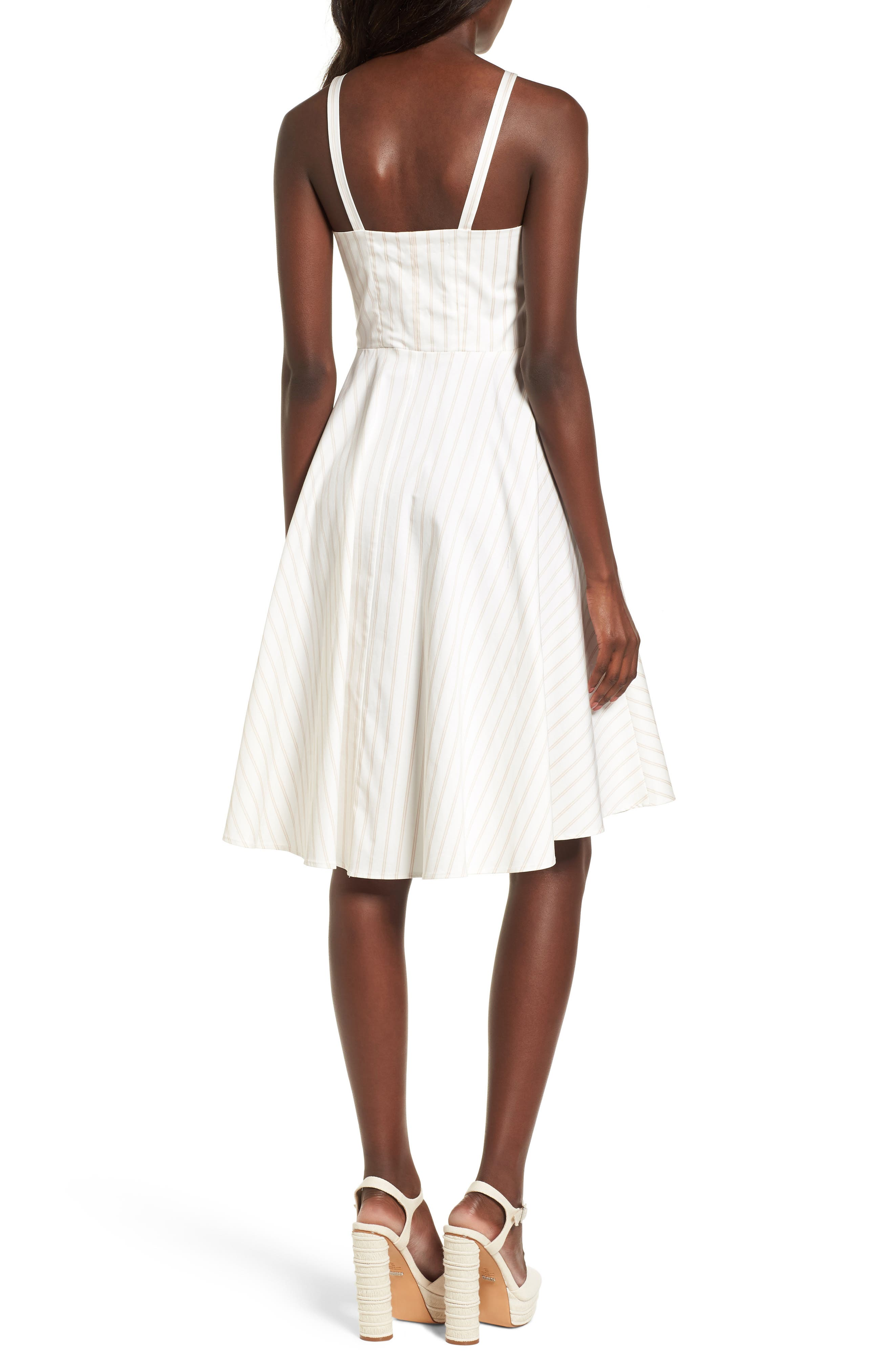 Fit & Flare Dress,                             Alternate thumbnail 2, color,                             Ivory Ashley Stripe