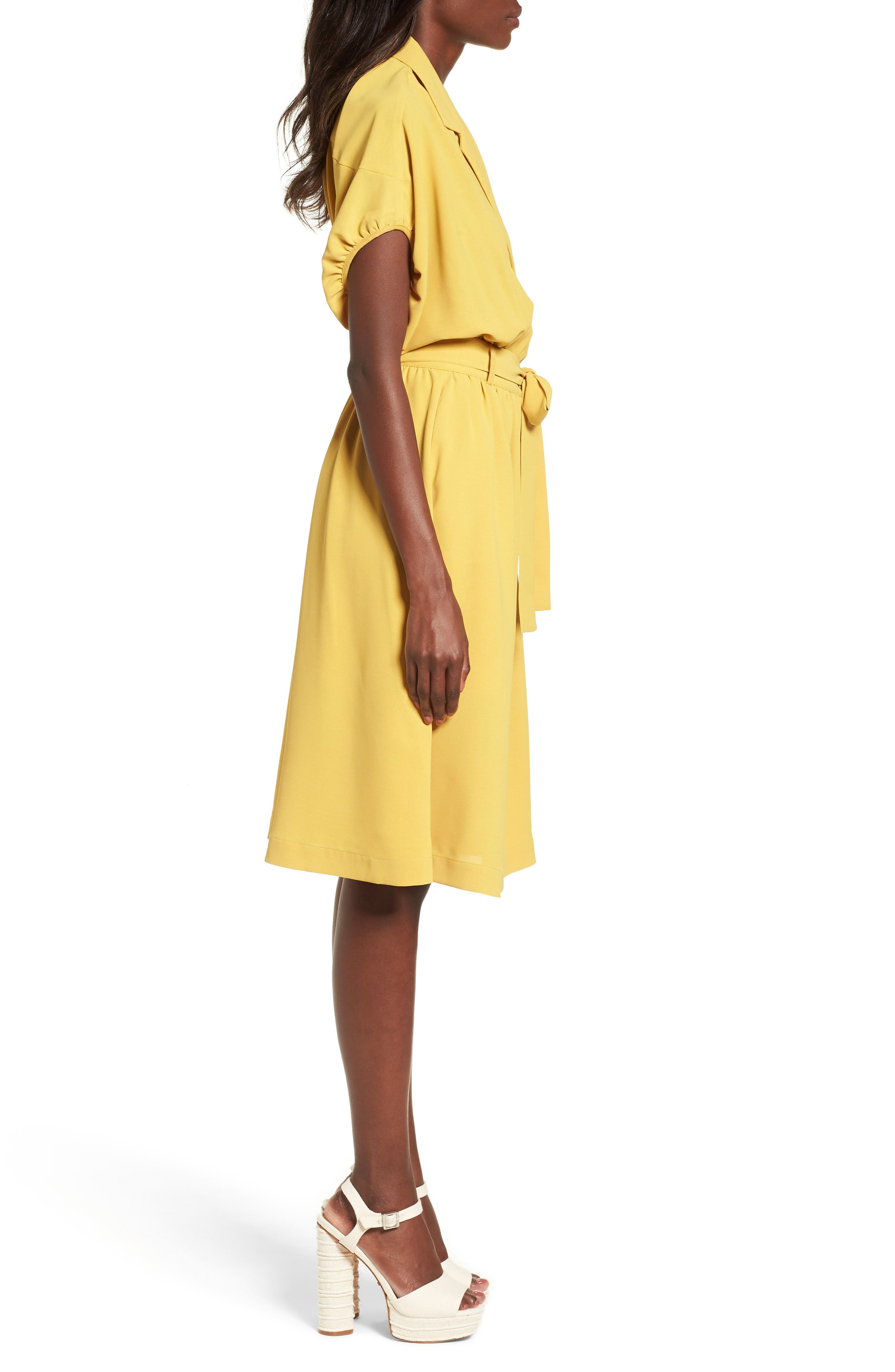 Chriselle x J.O.A. Cocoon Sleeve Dress,                             Alternate thumbnail 5, color,                             Roman Gold