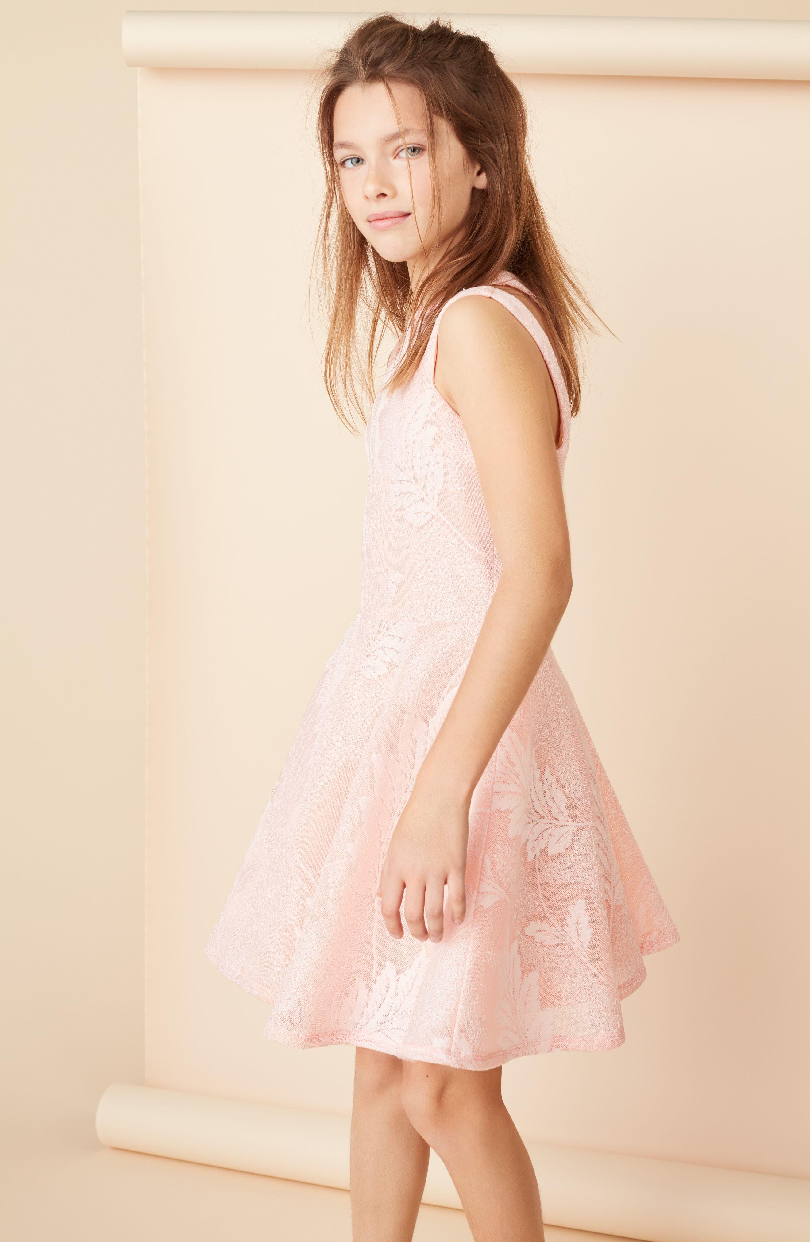Split Strap Lace Fit & Flare Dress,                             Alternate thumbnail 4, color,