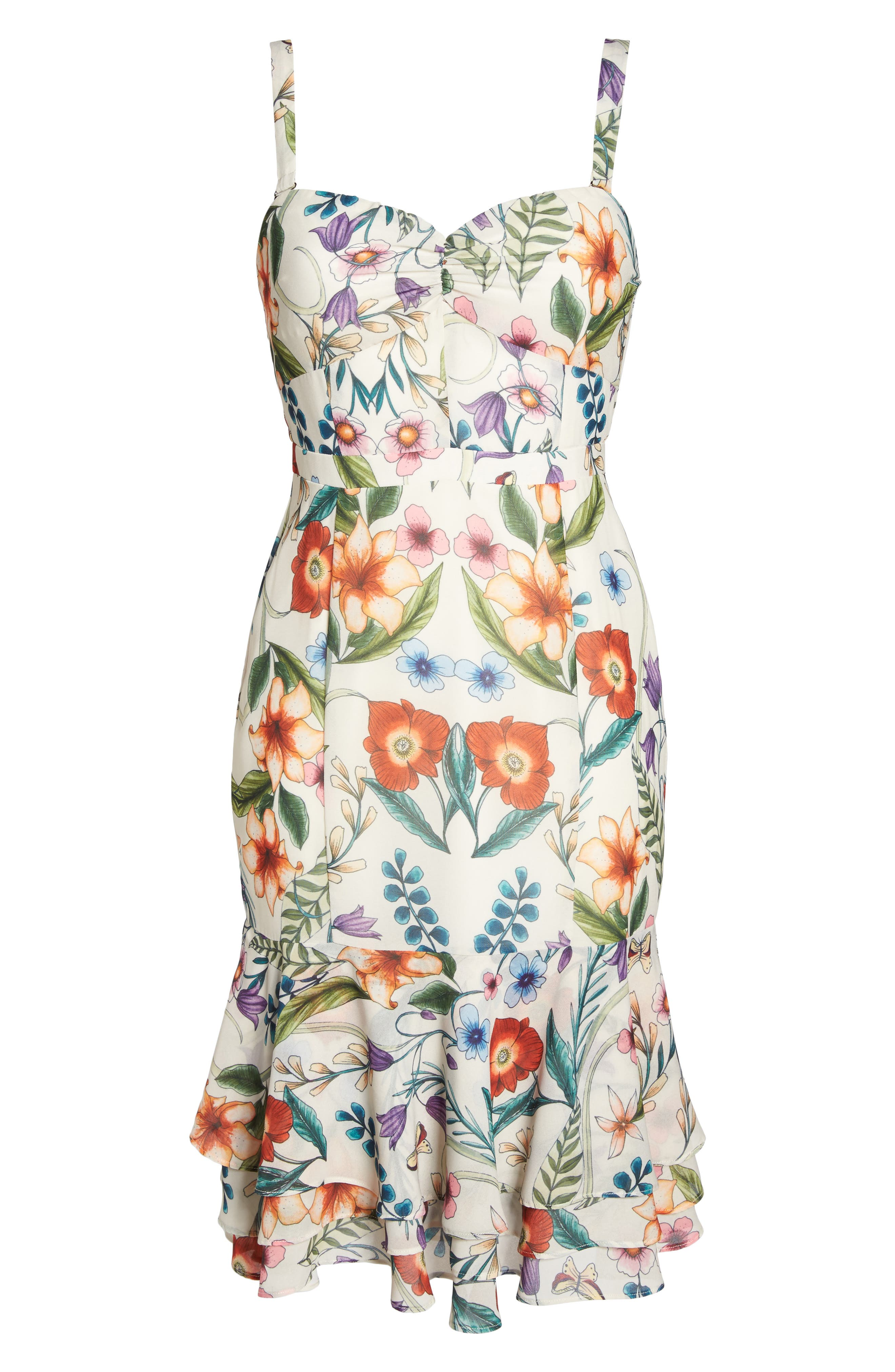 Gardenia Strapless Dress,                             Alternate thumbnail 5, color,                             Print
