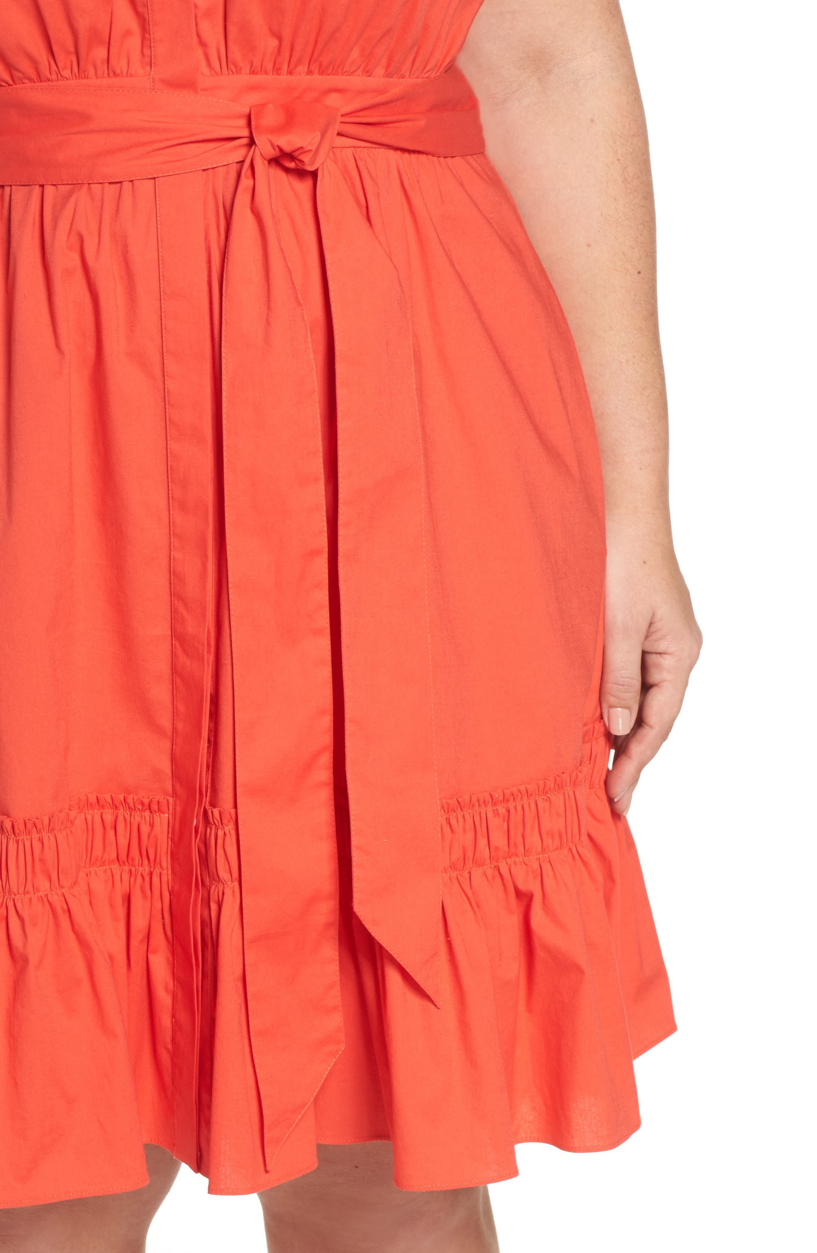 Pleat Collar Fit & Flare Dress,                             Alternate thumbnail 5, color,                             Red Bloom