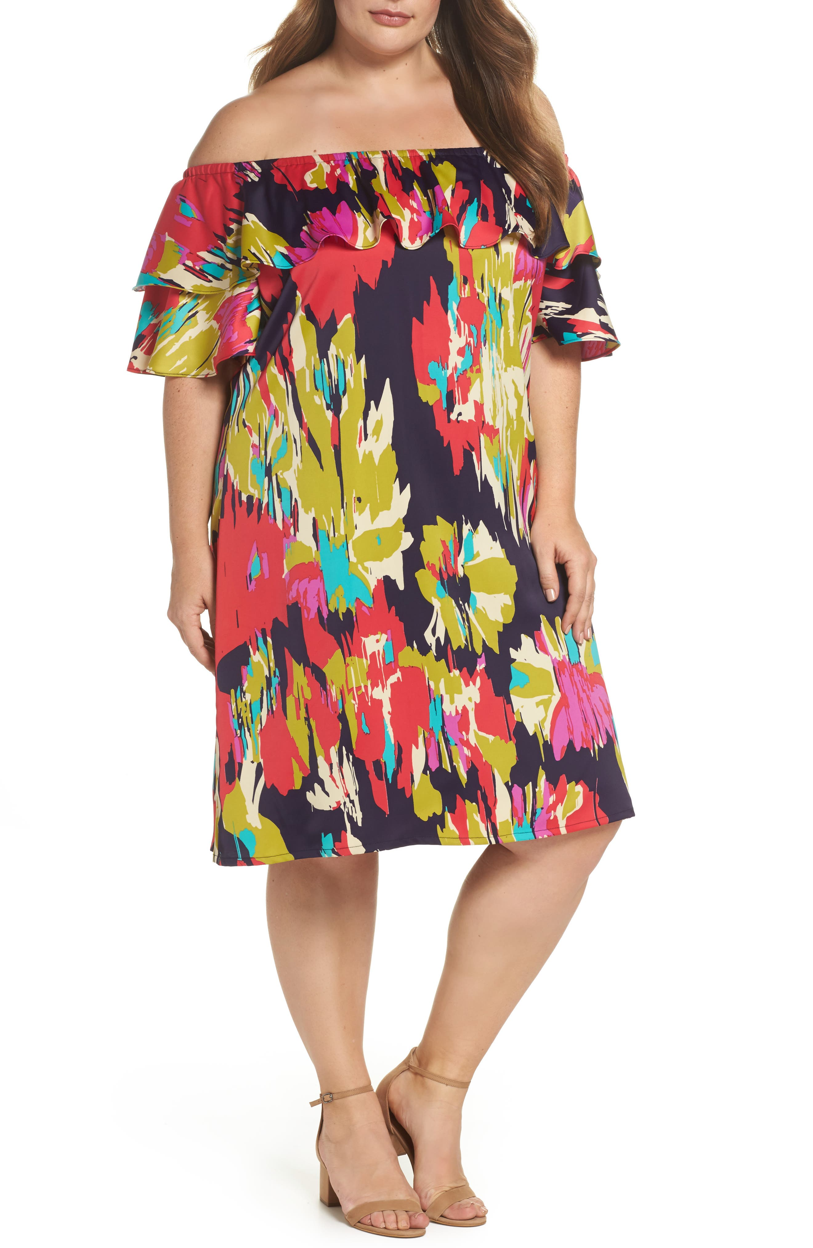 Double Ruffle Off the Shoulder Dress,                         Main,                         color, Dark Eggplant/ Red