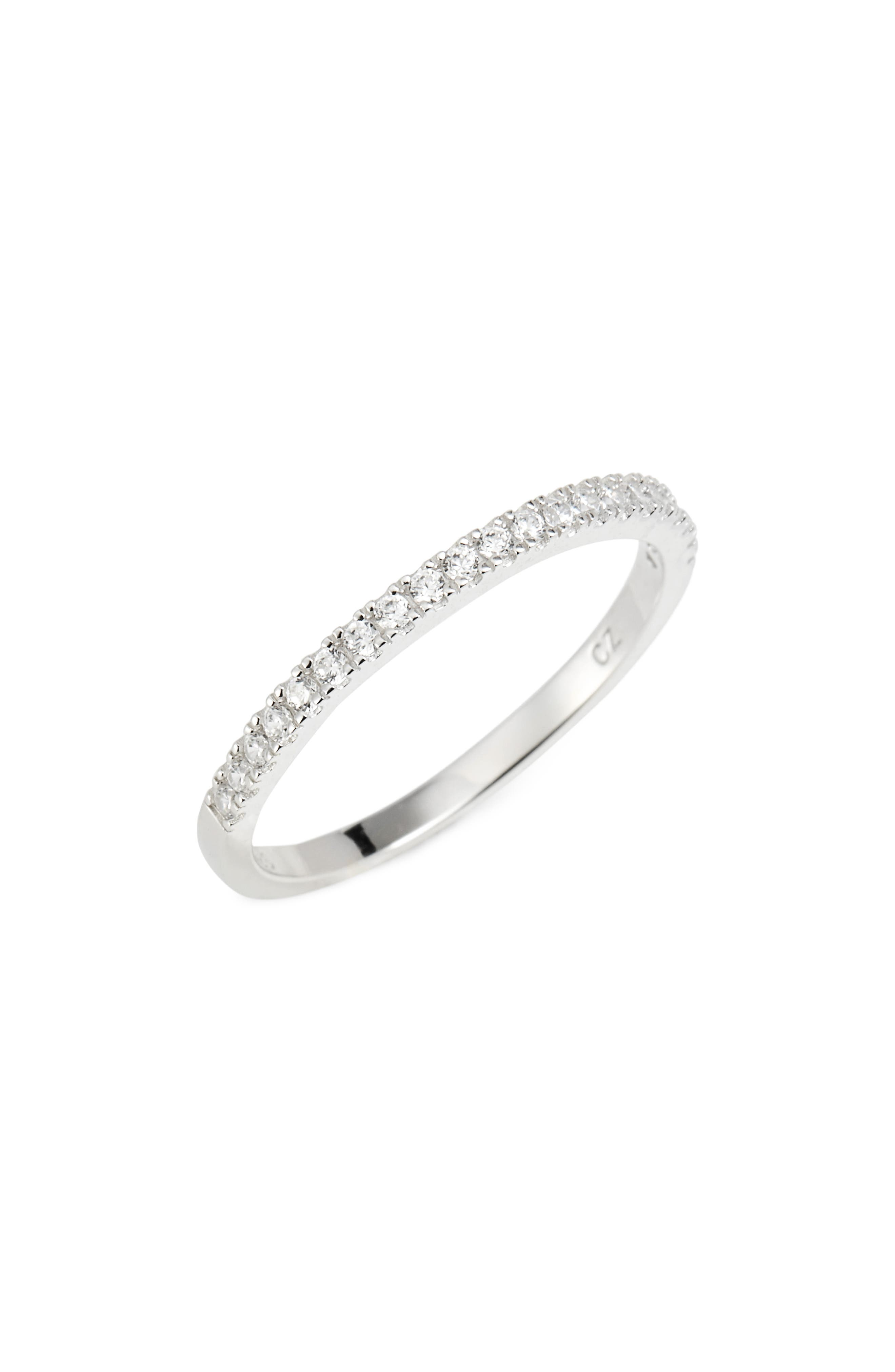 Pavé Half Eternity Ring,                         Main,                         color, Platinum
