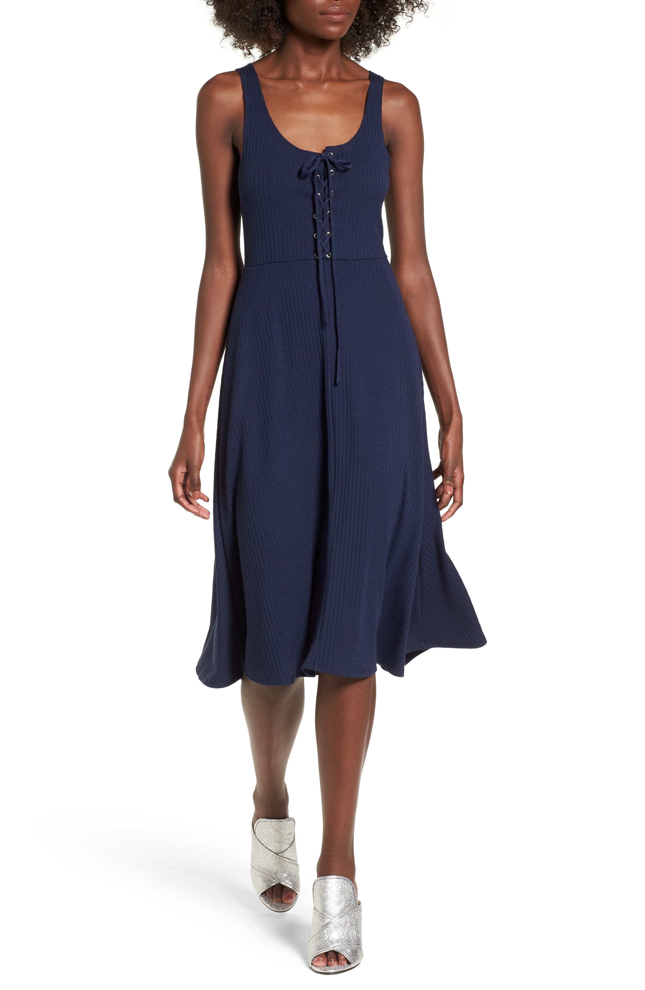 Fawn Lace-Up Midi Dress,                         Main,                         color, Navy