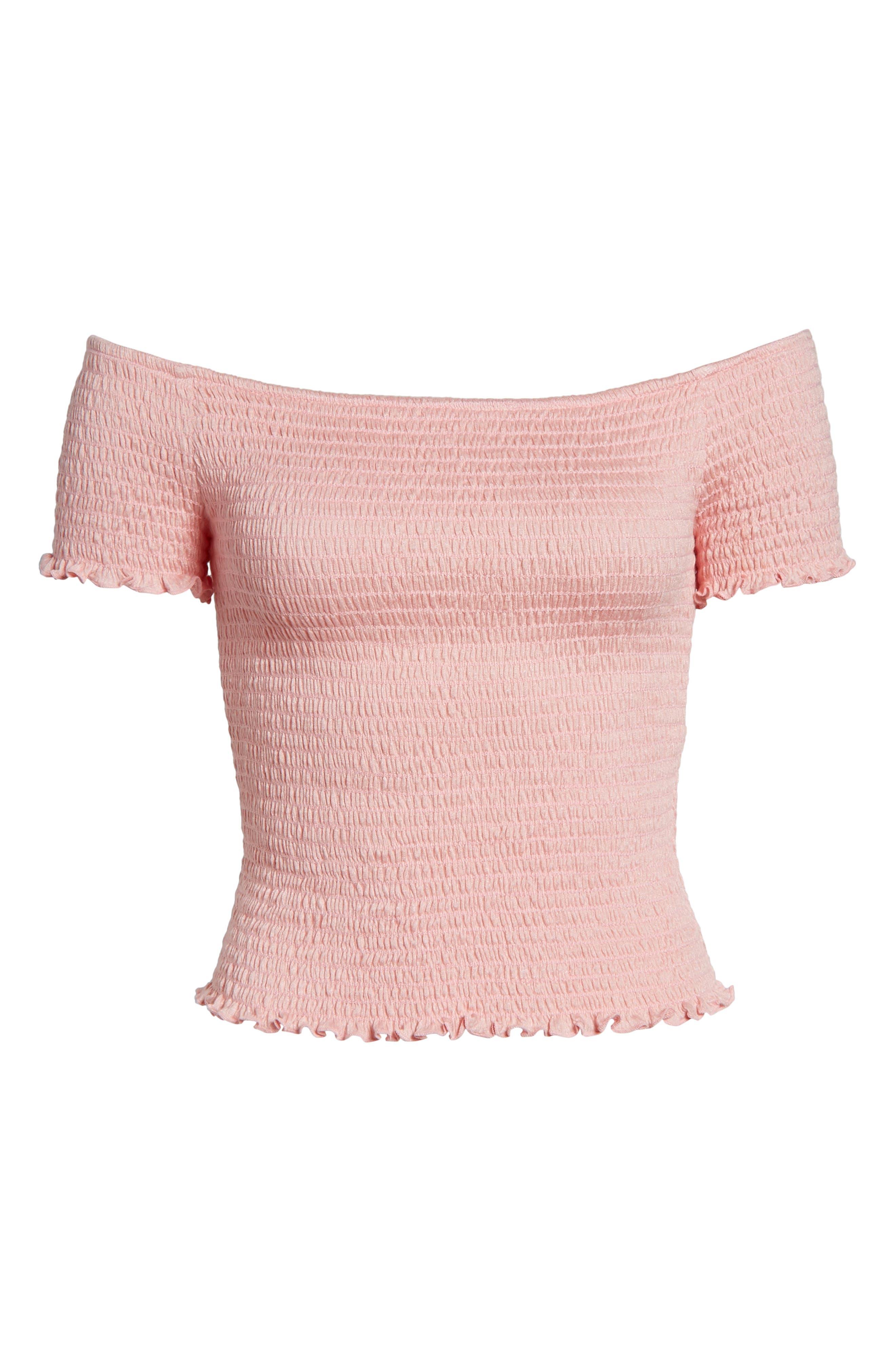 Smocked Off the Shoulder Neckline,                             Alternate thumbnail 7, color,                             Pink