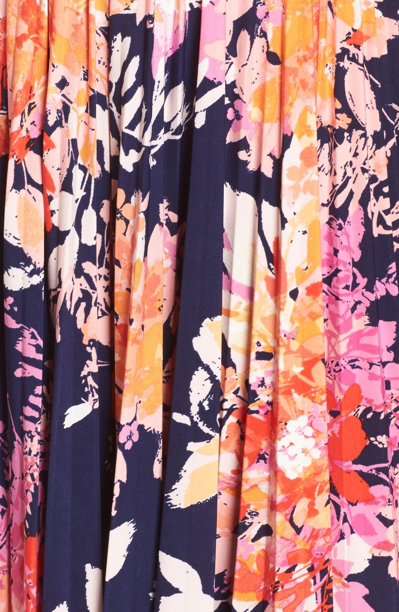 Pleat Fit & Flare Dress,                             Alternate thumbnail 5, color,                             Navy/ Orange