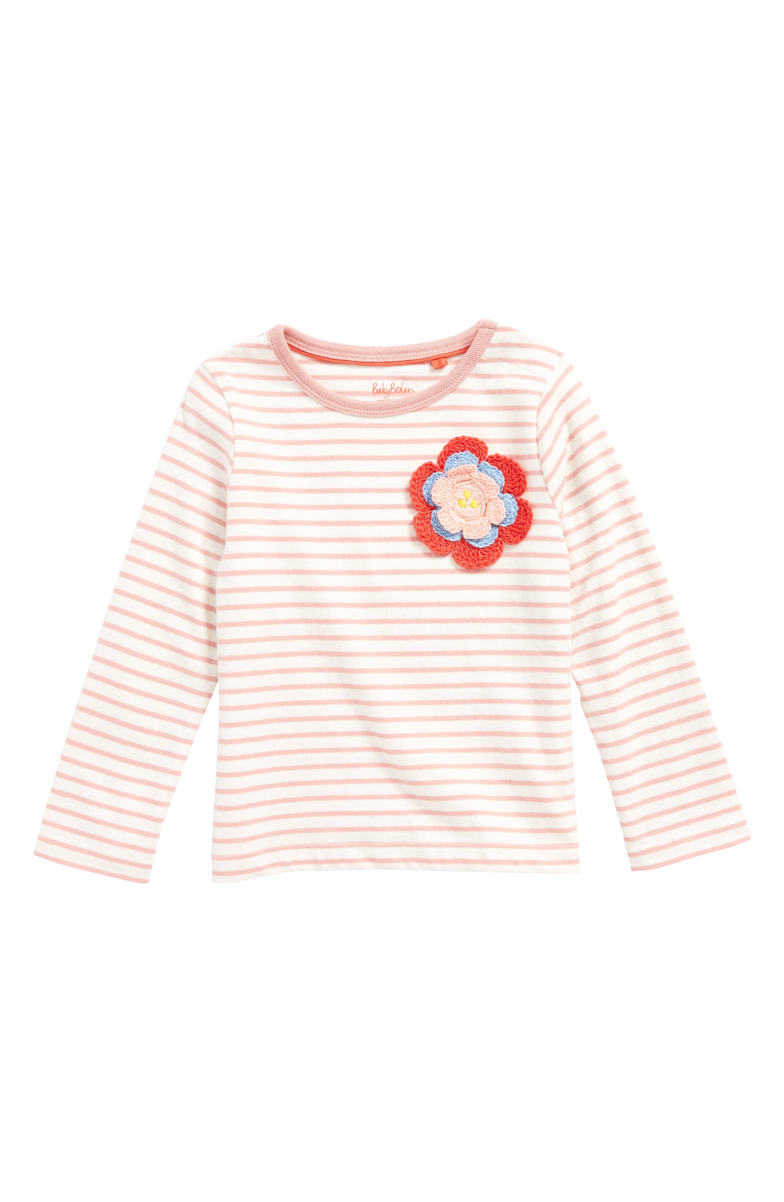 Stripy Crochet Appliqué Tee,                         Main,                         color, Almond Blossom Pink