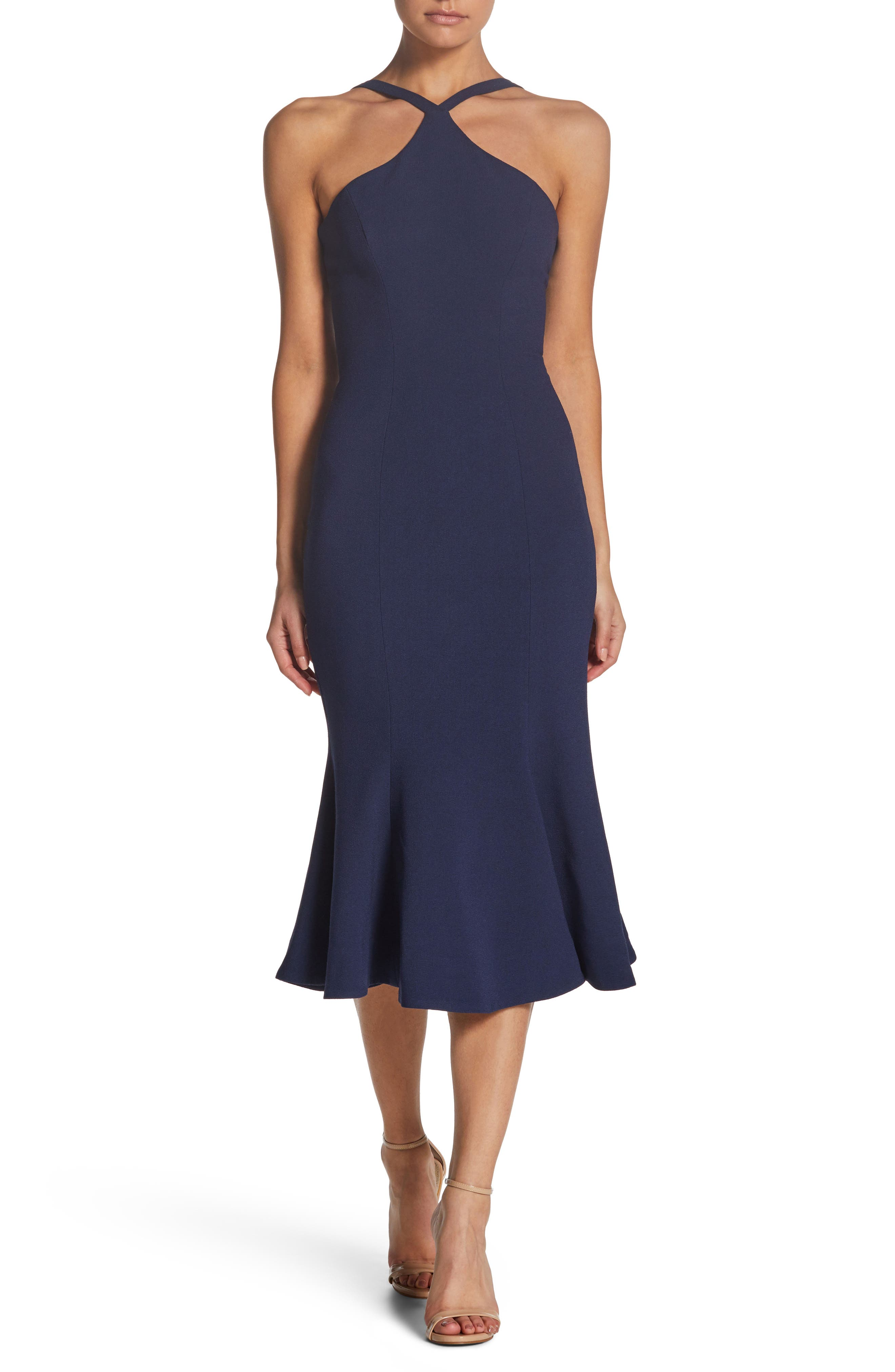 Tessa Crepe Mermaid Dress,                         Main,                         color, Navy