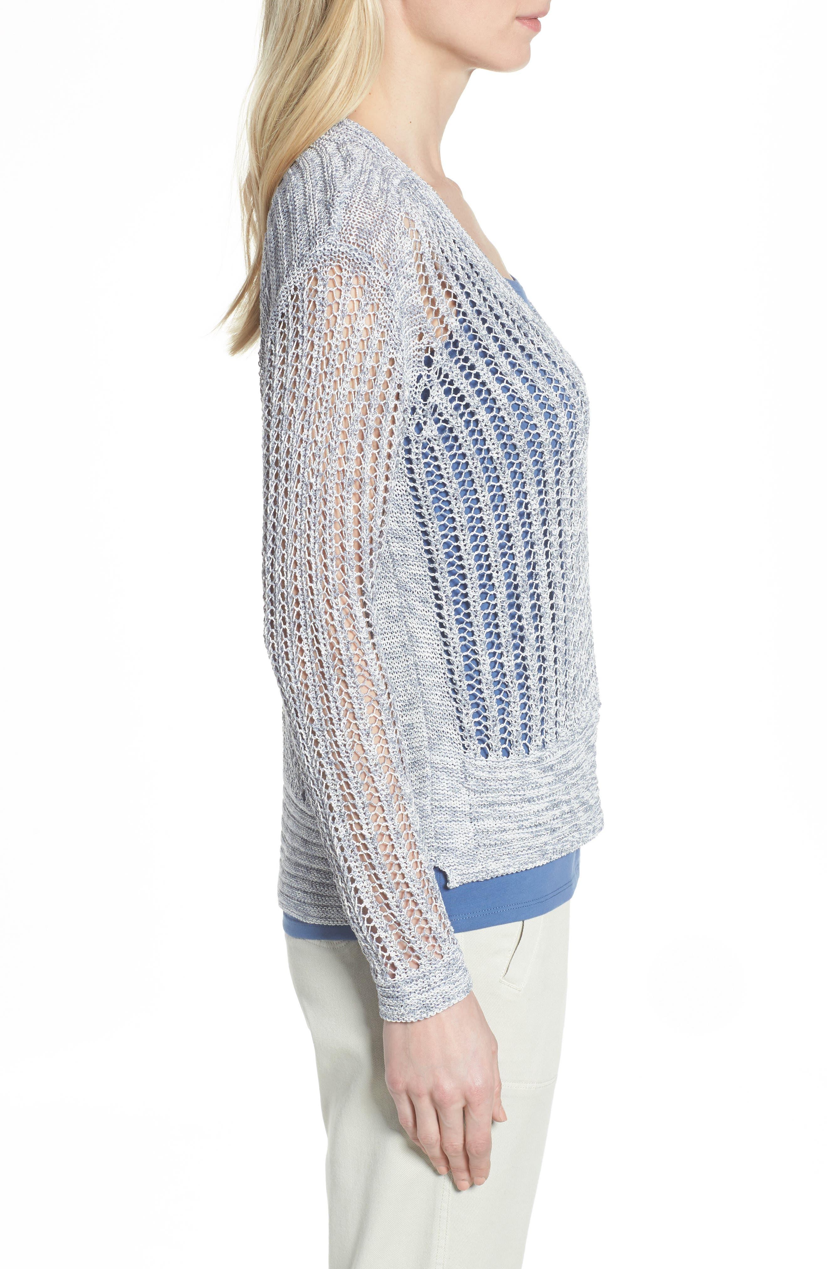 Open Stitch Sweater,                             Alternate thumbnail 3, color,                             Indigo Mix