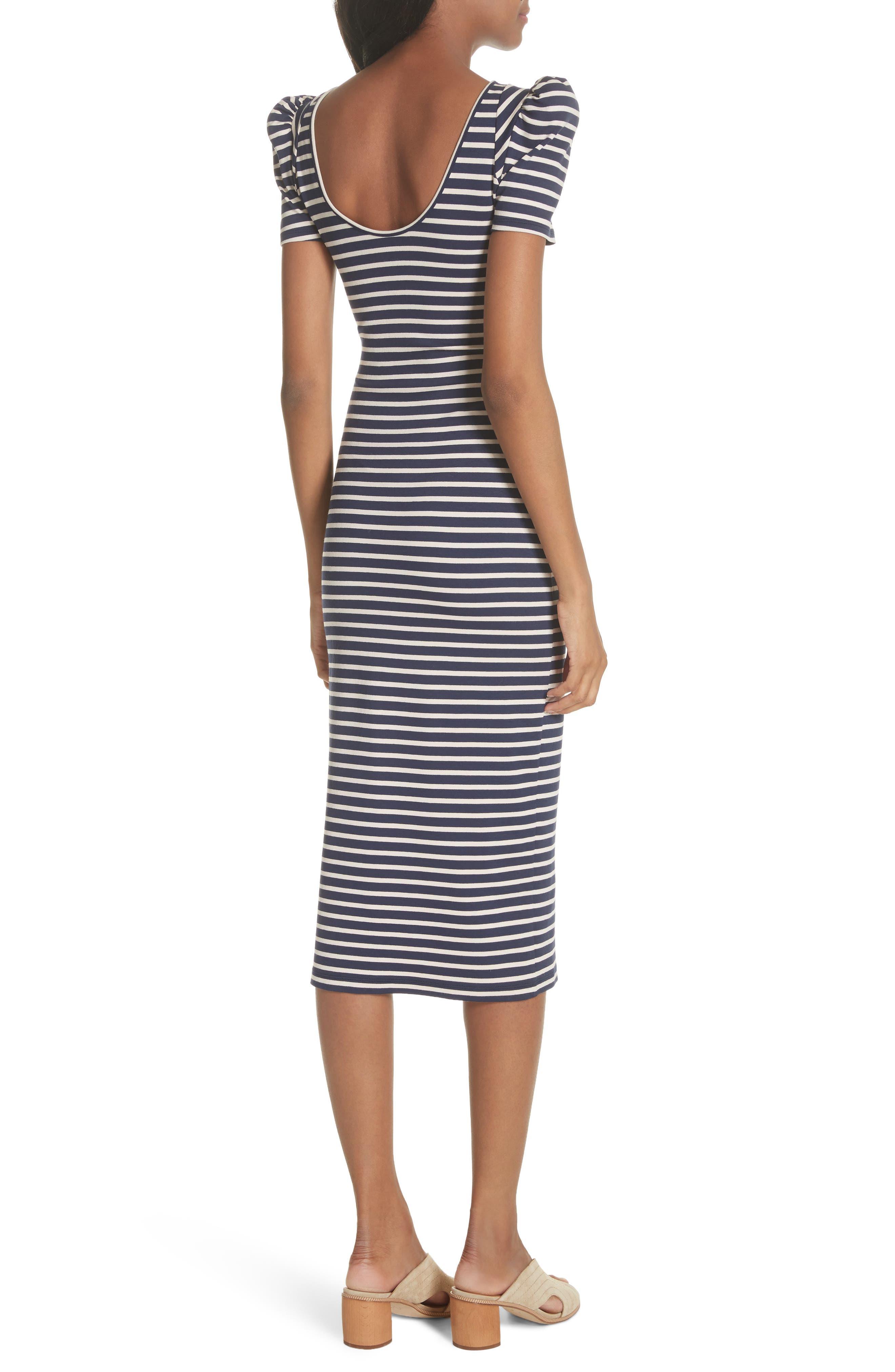 Puff Sleeve Body-Con Midi Dress,                             Alternate thumbnail 2, color,                             Navy Breton Stripe