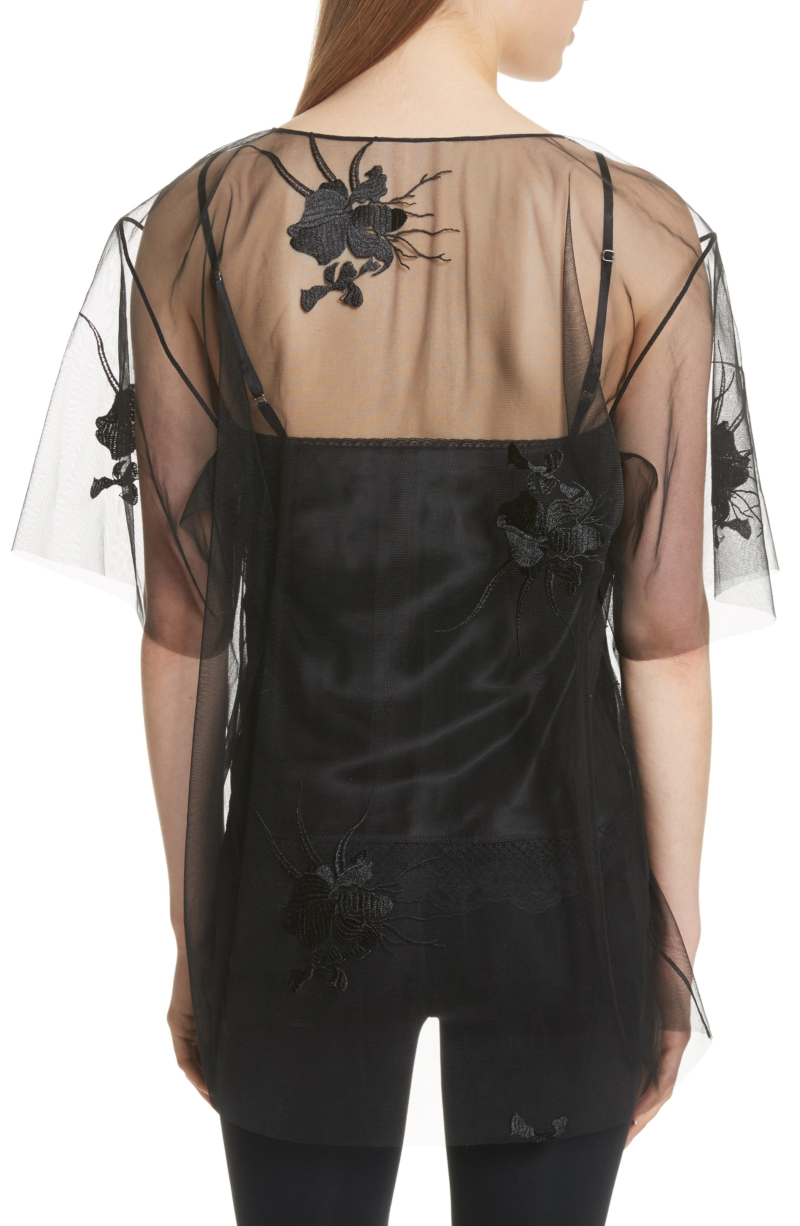 Alternate Image 2  - Helmut Lang Orchid Embroidered Mesh Top