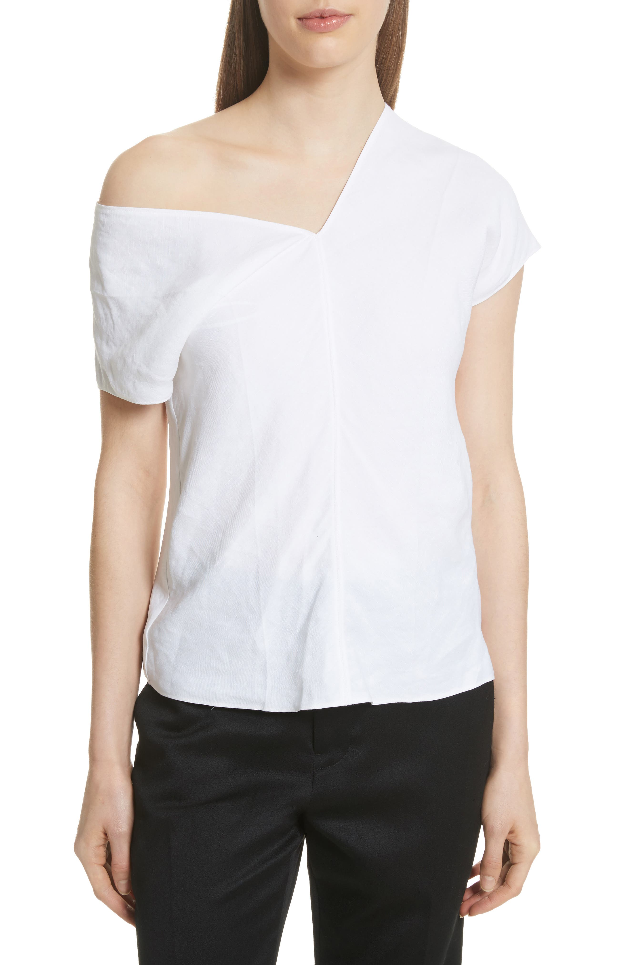 One-Shoulder Linen Blend Top,                         Main,                         color, Optic White