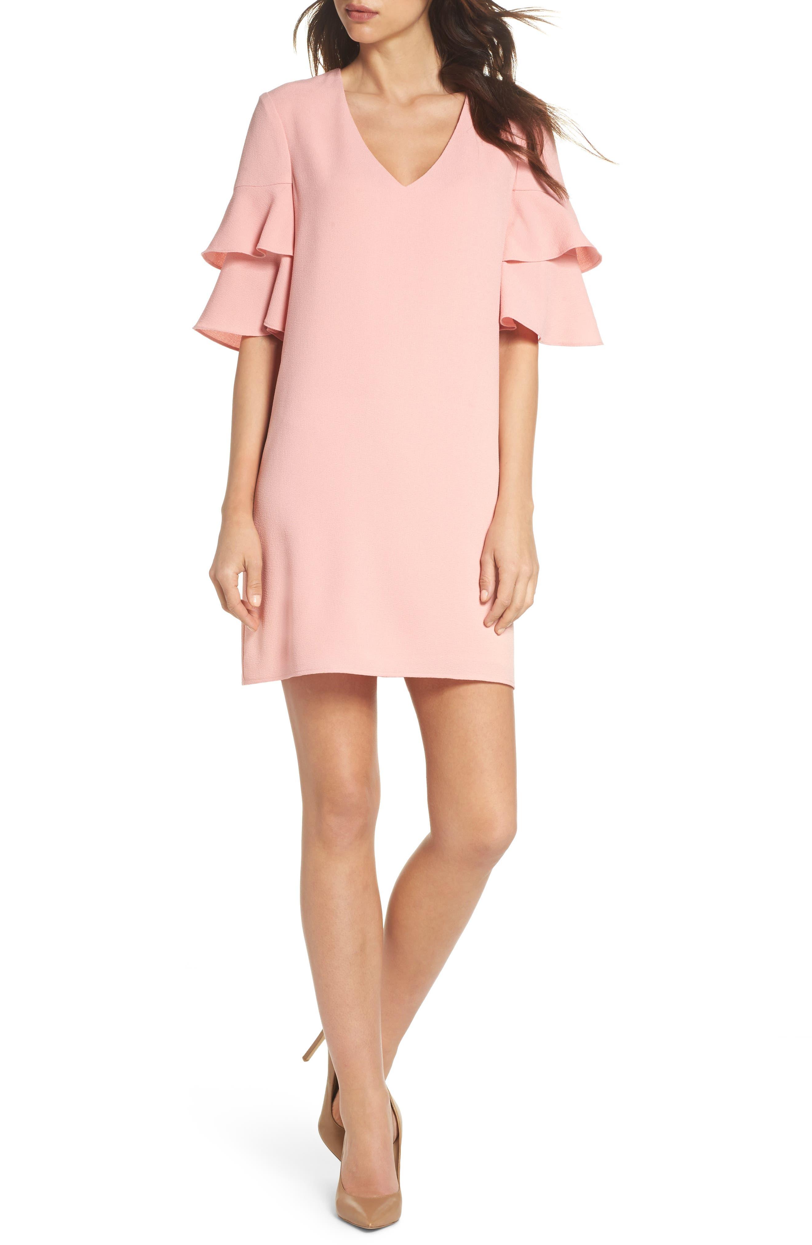 Ruffle Sleeve Shift Dress,                         Main,                         color, Blush Rose