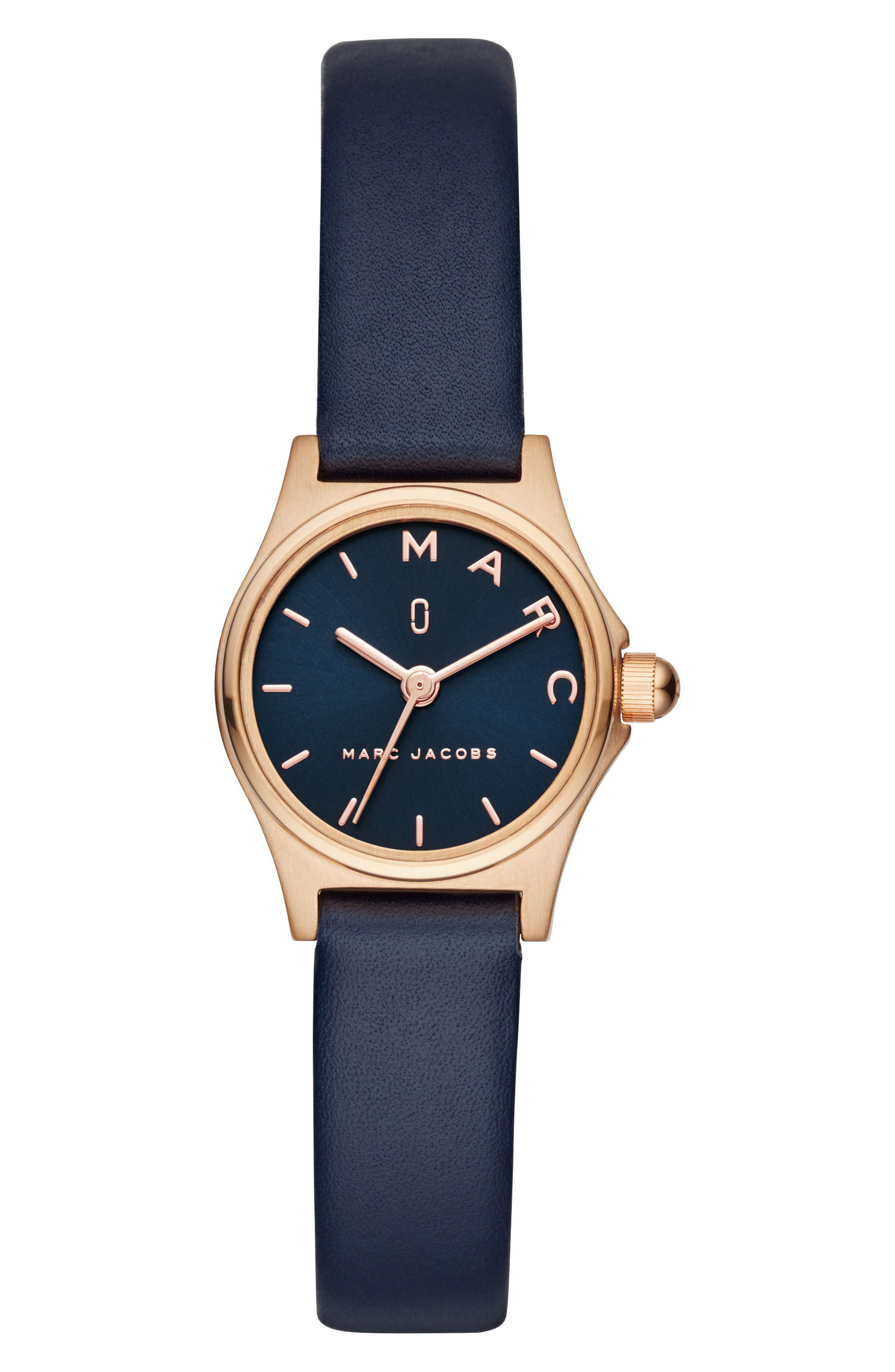 Henry Leather Strap Watch, 26mm,                         Main,                         color, Blue/ Rose Gold