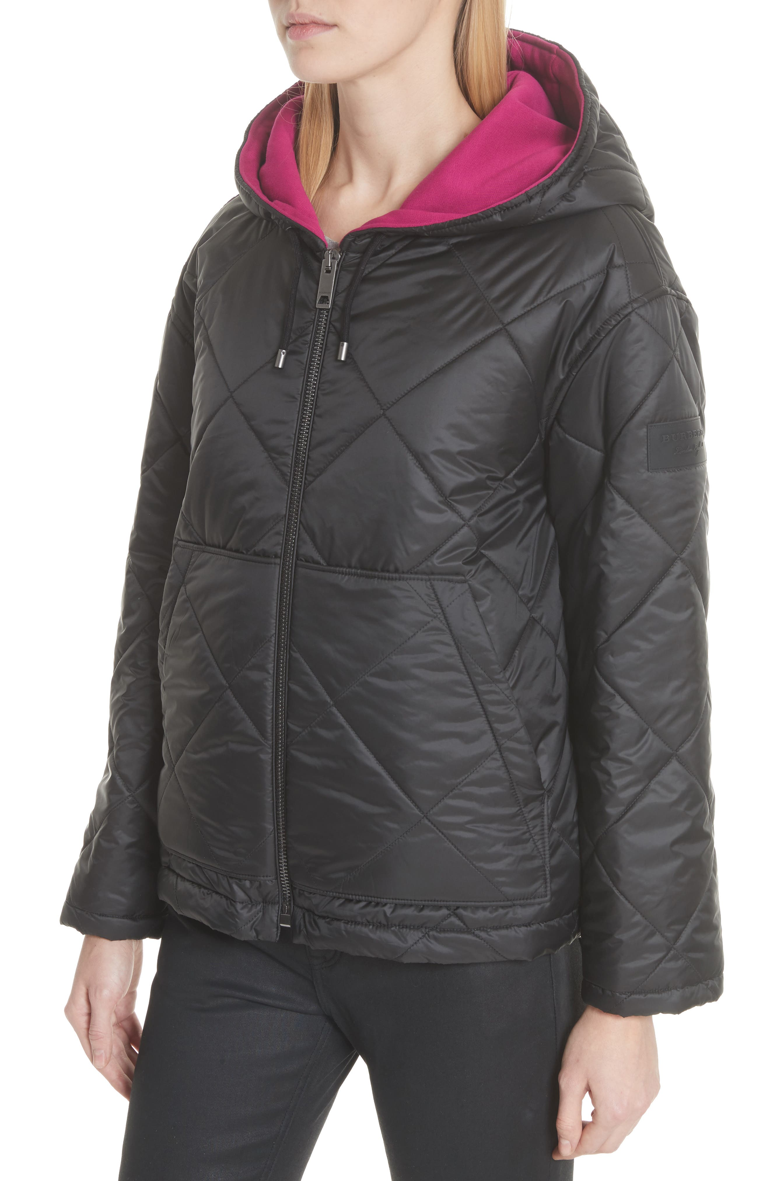 Tyneham Lined Quilted Jacket,                             Alternate thumbnail 4, color,                             Black