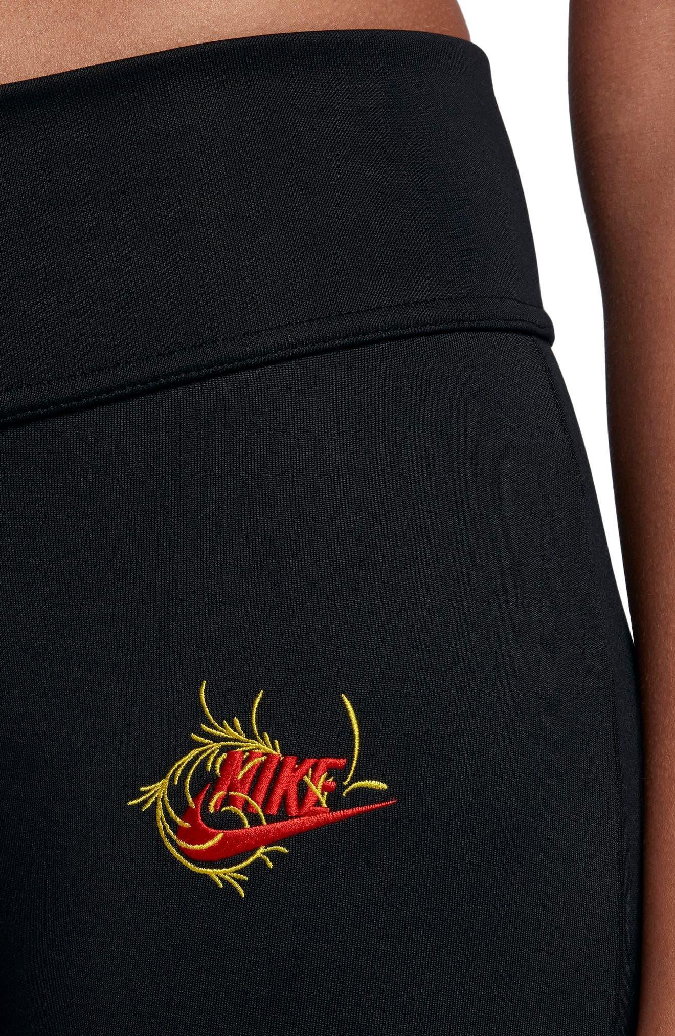 Sportswear Essential Floral Leggings,                             Alternate thumbnail 5, color,                             Black/ University Red
