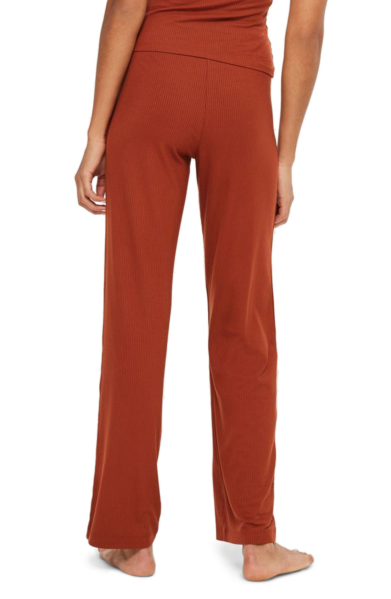 Ribbed Pajama Pants,                             Alternate thumbnail 2, color,                             Rust