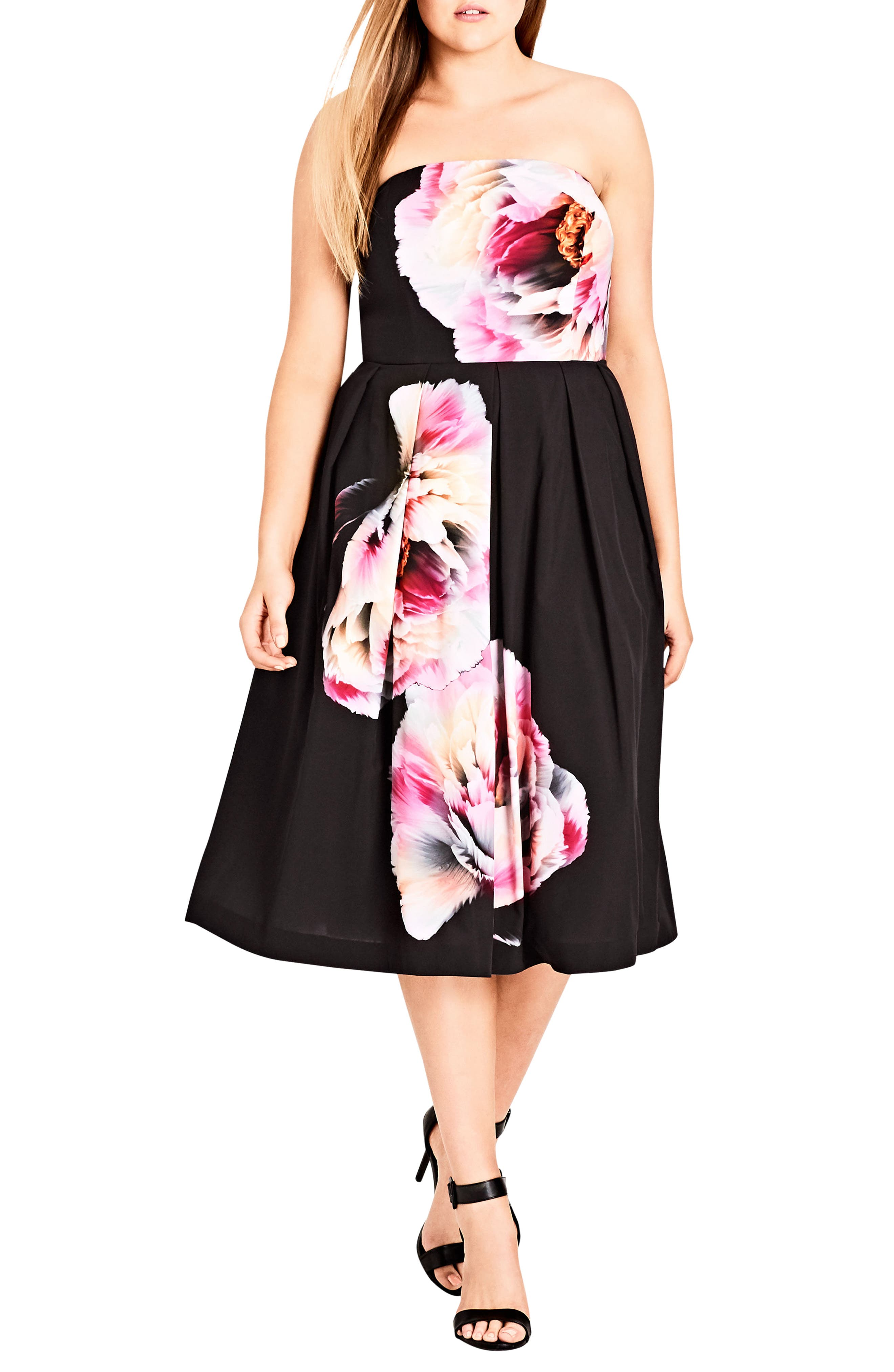 Bold Bloom Pleated Fit & Flare Dress,                             Main thumbnail 1, color,                             Black