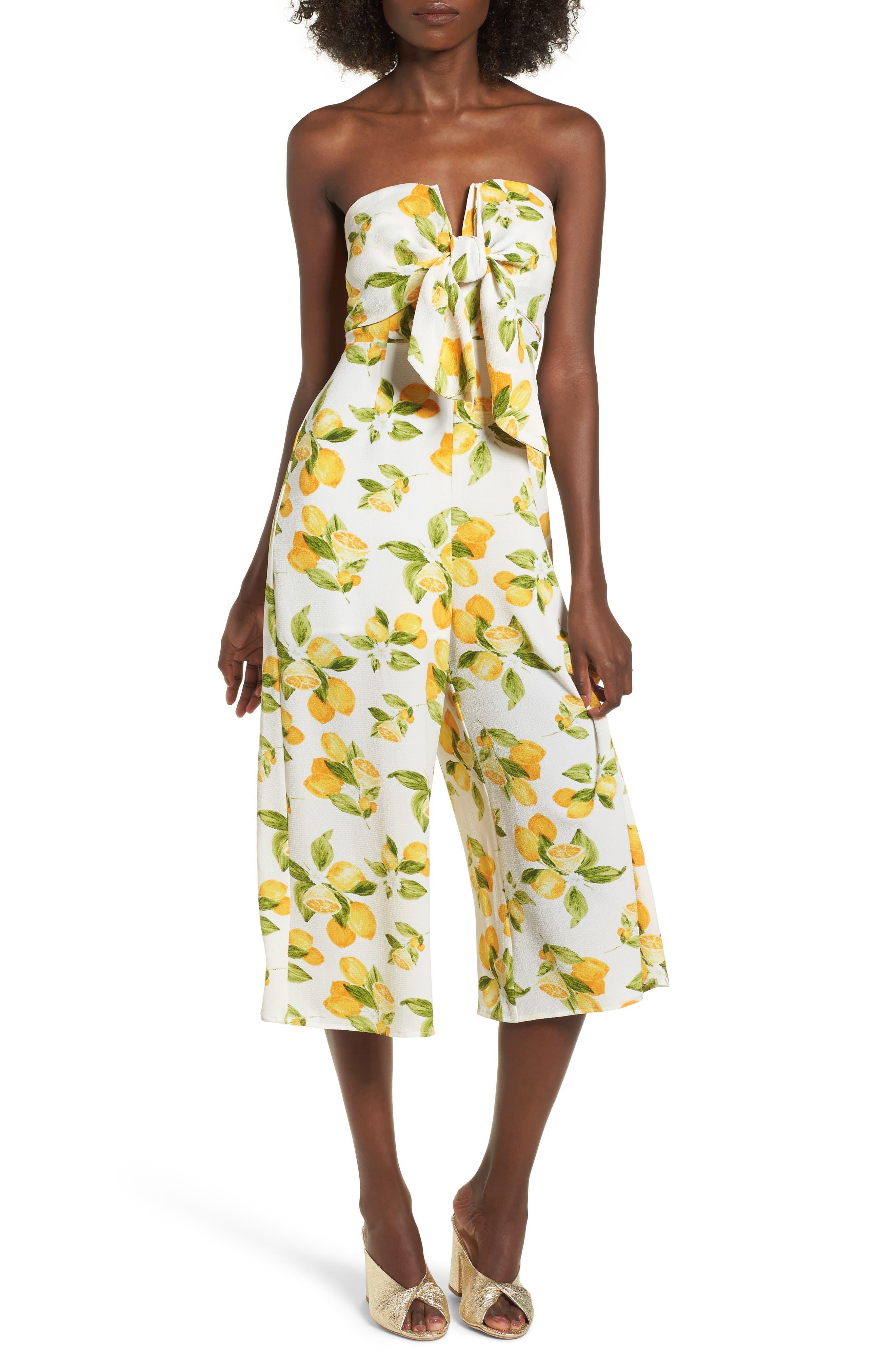 Strapless Tie Front Jumpsuit,                             Main thumbnail 1, color,                             Lemon Print