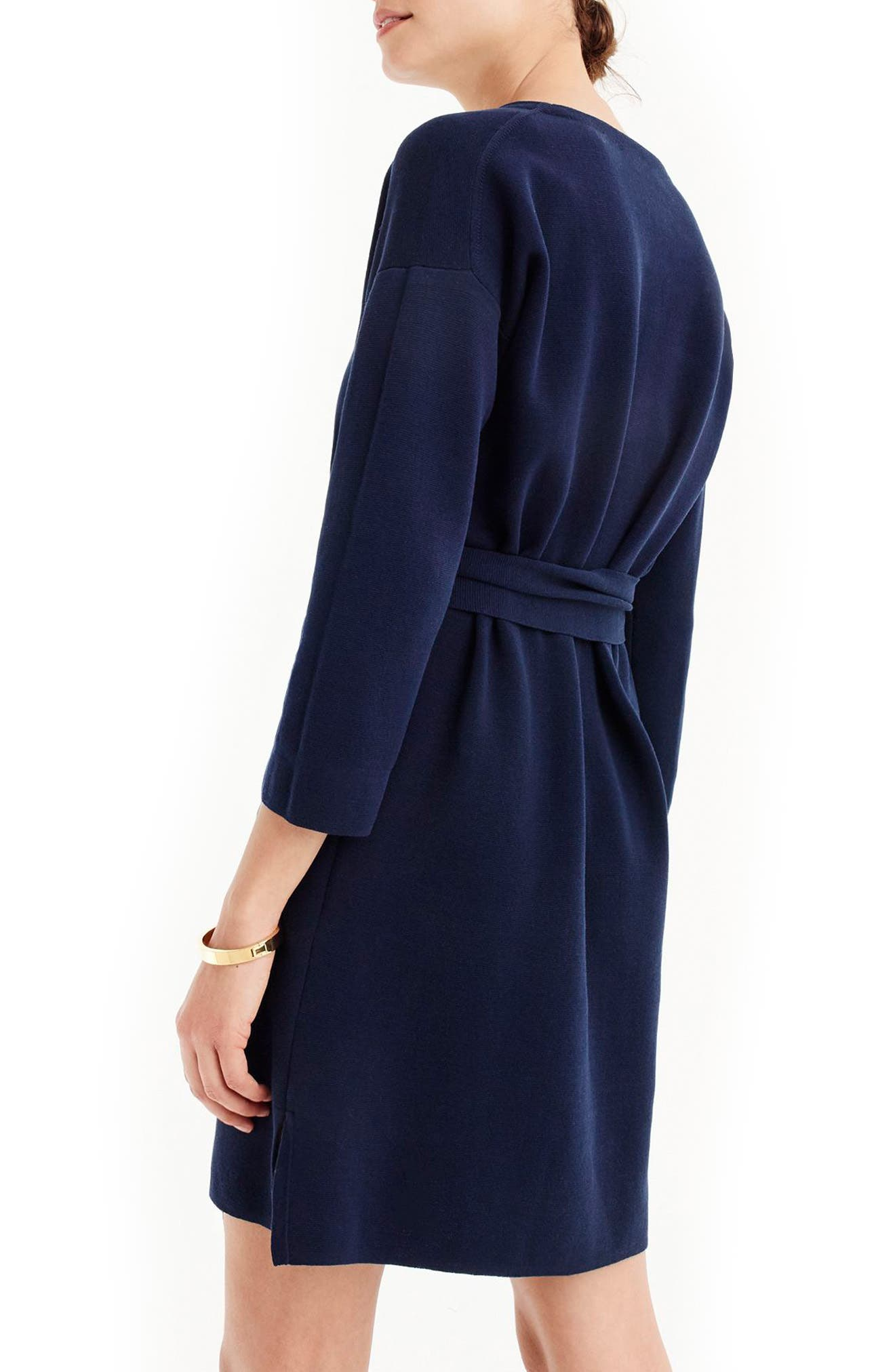 J.Crew Tie Waist Knit Dress,                             Alternate thumbnail 2, color,                             Indigo Sea