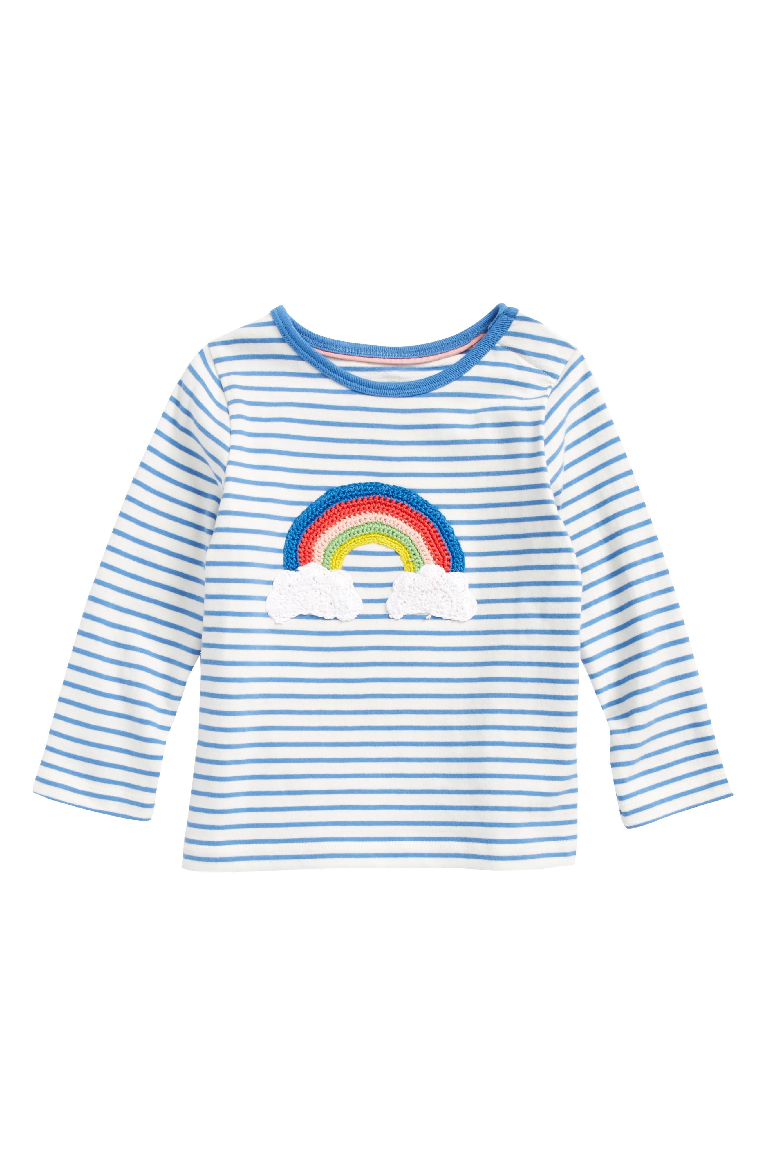 Mini Boden Stripy Crochet Tee (Baby Girls & Toddler Girls)