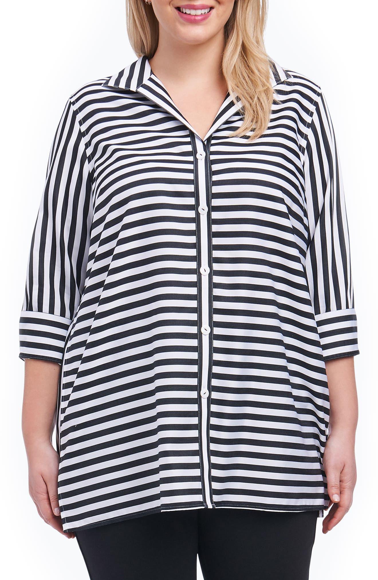 Dani Sateen Stripe Shirt,                         Main,                         color, Black
