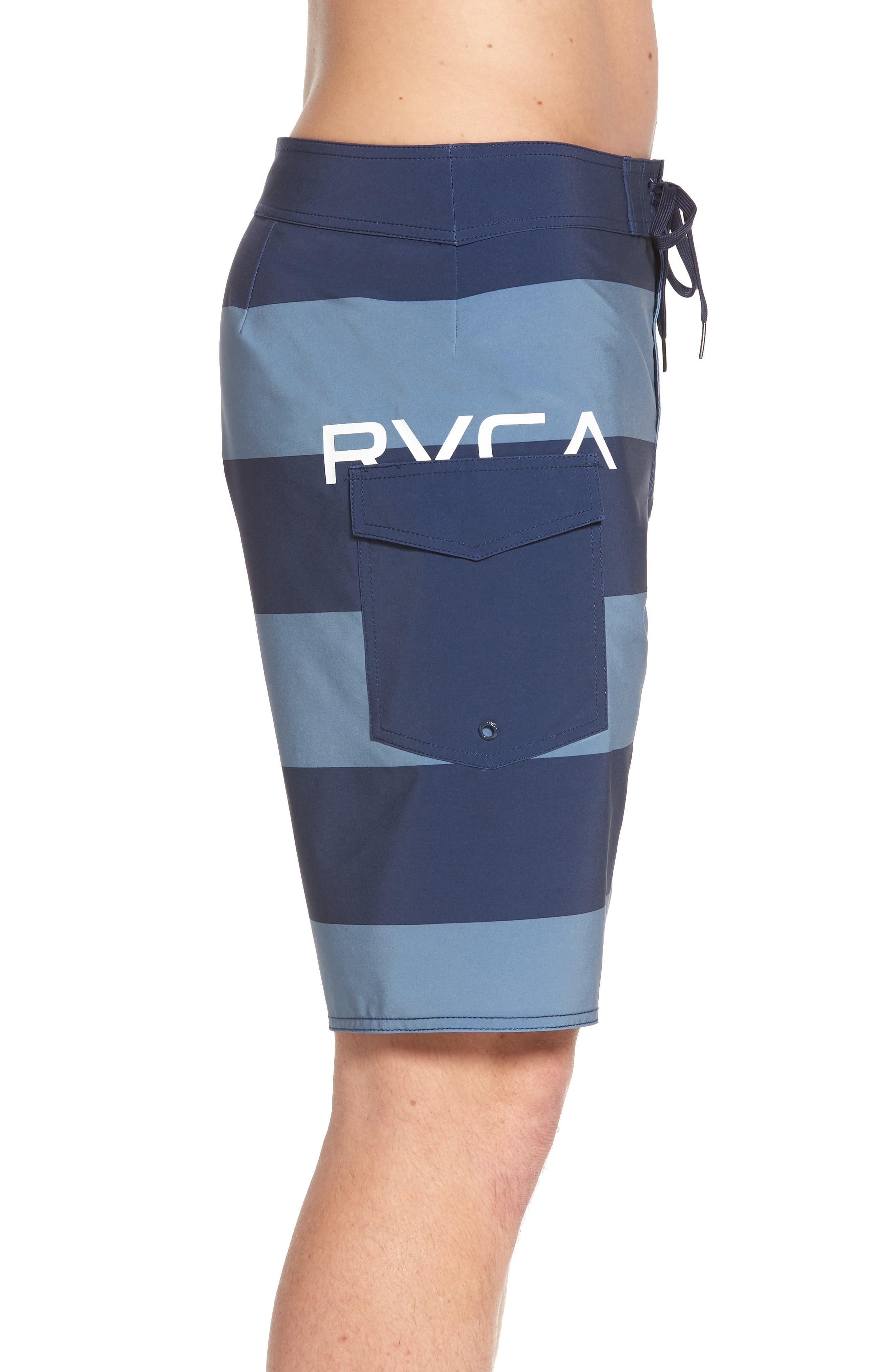 Uncivil Stripe Board Shorts,                             Alternate thumbnail 3, color,                             Classic Indigo